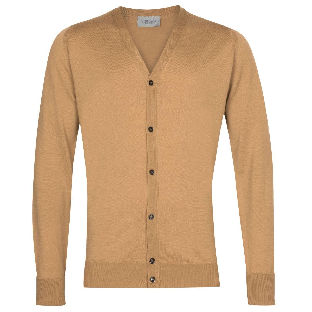 John Smedley Bryn Merino Wool Cardigan in Light Camel-M