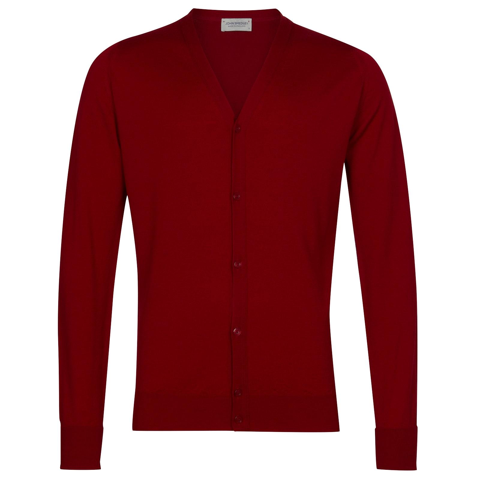 John Smedley Bryn Merino Wool Cardigan in Thermal Red-M