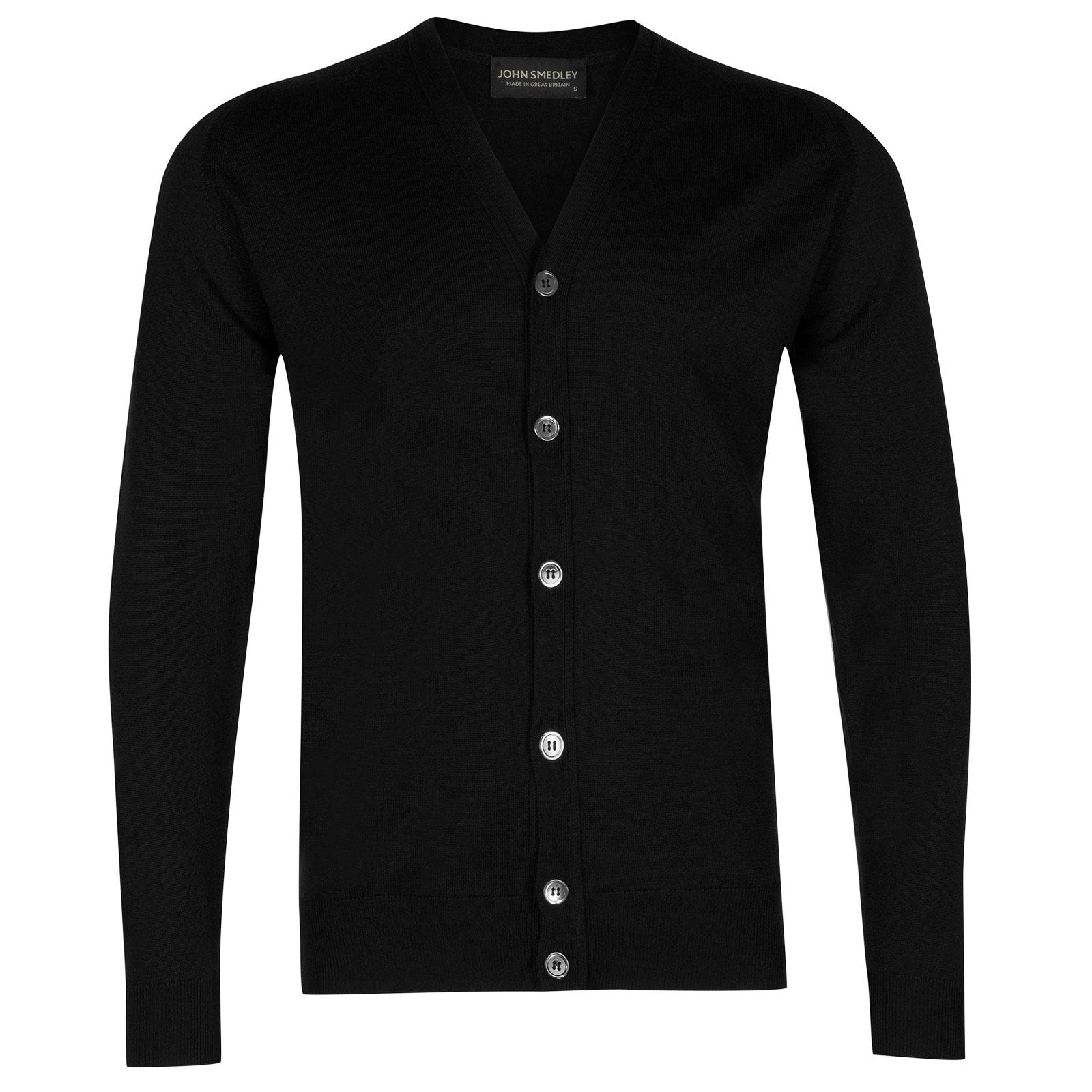John Smedley burley Merino Wool Cardigan in Black-L