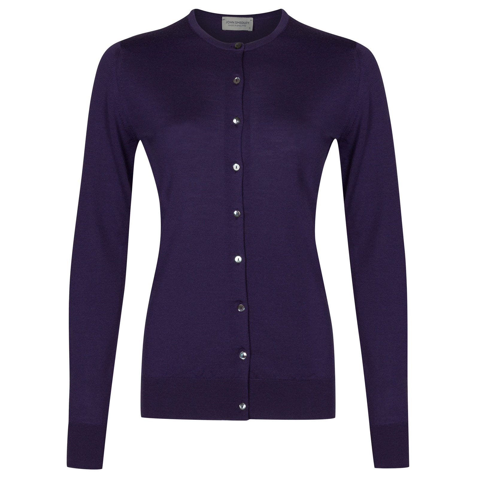 John Smedley buttercup Merino Wool Cardigan in Elderberry Purple-M