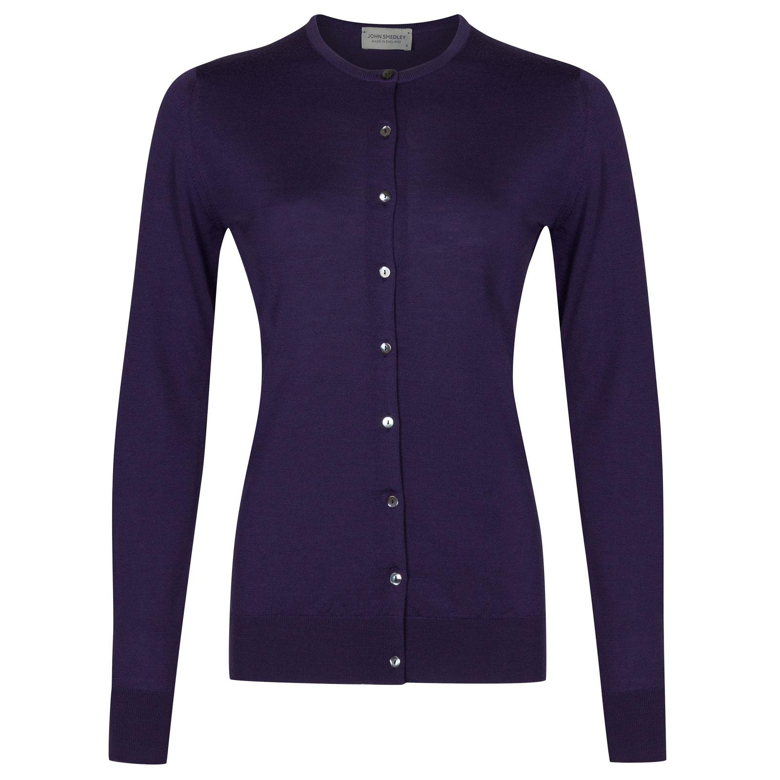 John Smedley buttercup Merino Wool Cardigan in Elderberry Purple-S
