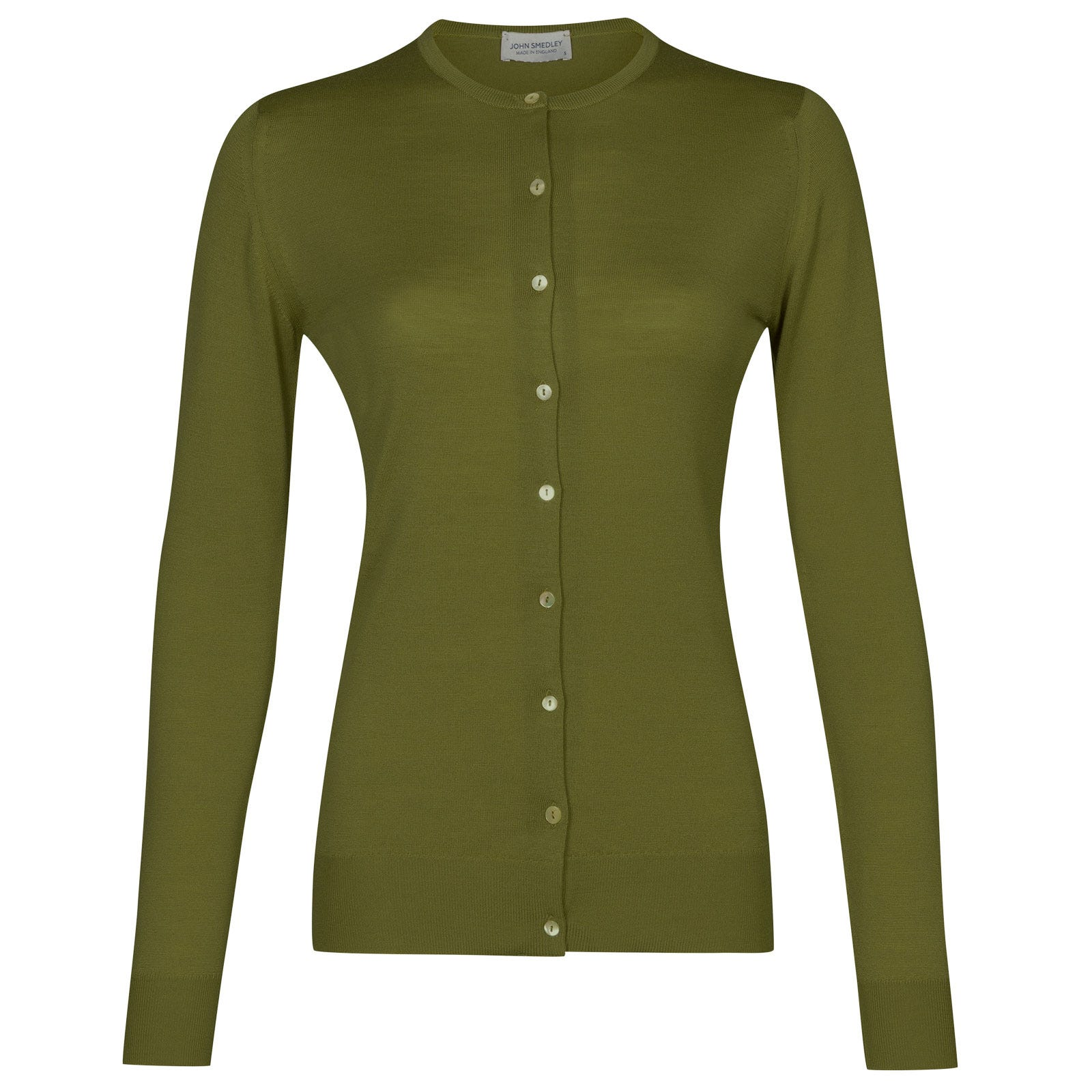 John Smedley buttercup Merino Wool Cardigan in Lumsdale Green-XL