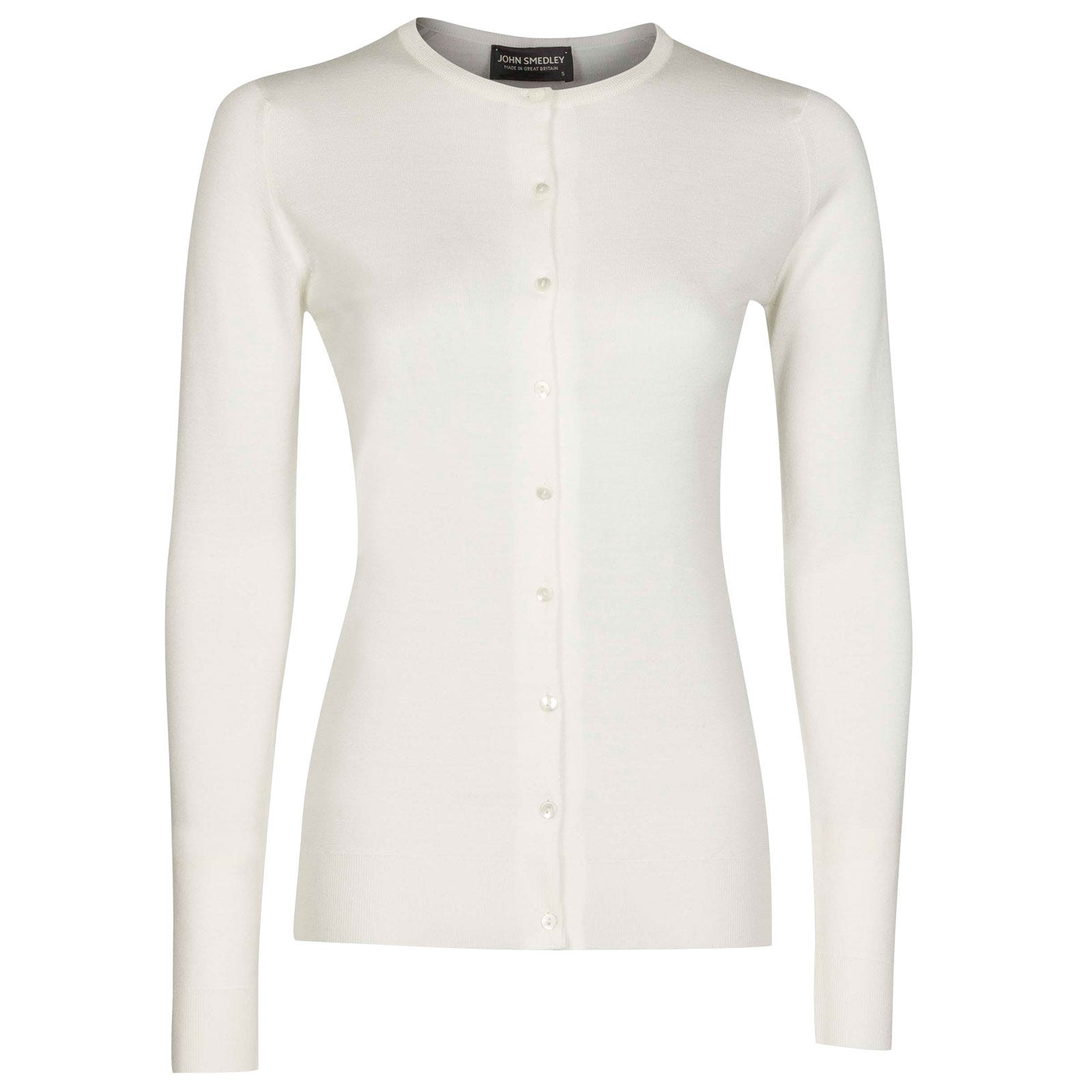 John Smedley Buttercup Merino Wool Cardigan in Snow White-M