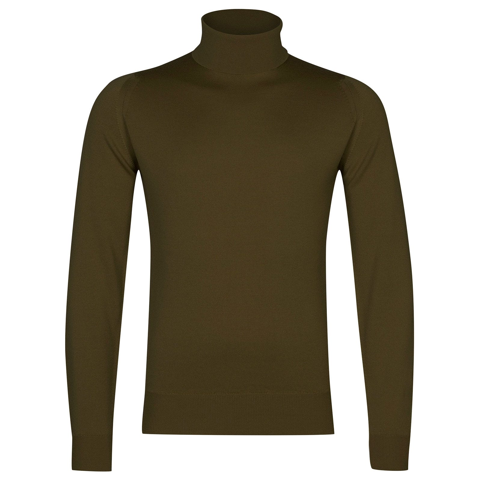 John Smedley Connell Merino Wool Pullover in Khaki-M