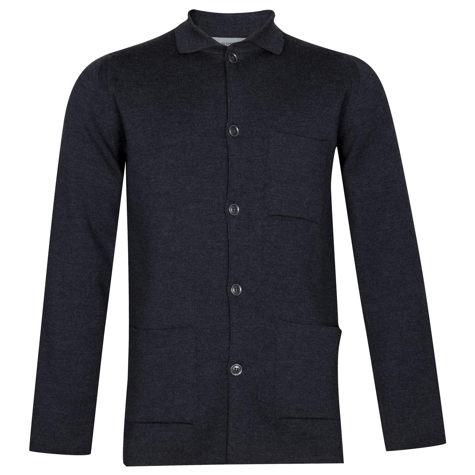 John Smedley Copper Merino Wool Jacket in Charcoal-M