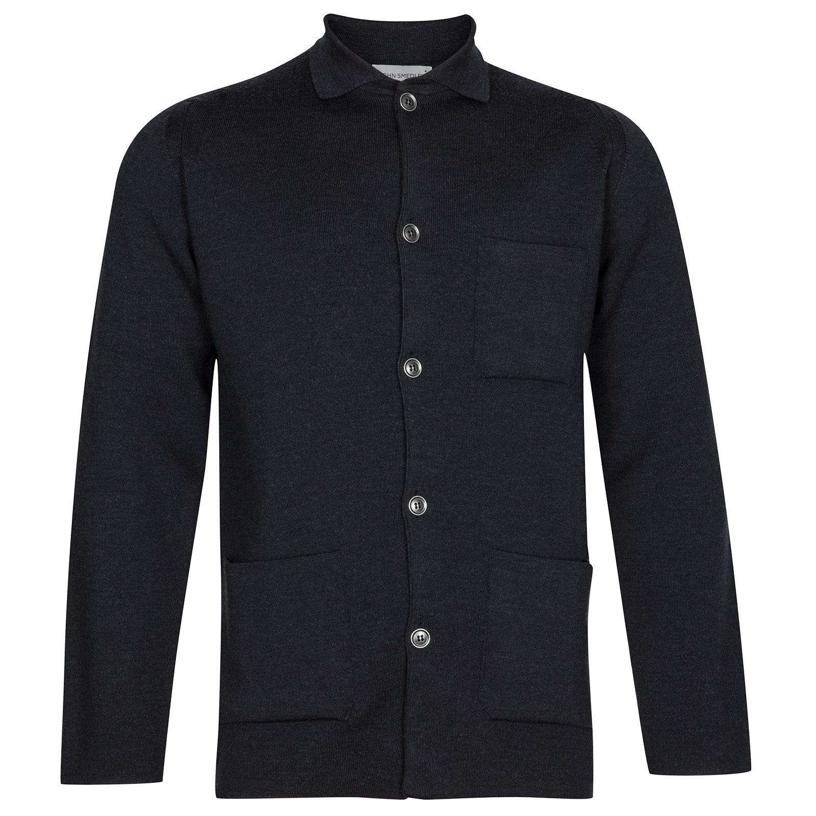John Smedley Copper Merino Wool Jacket in Hepburn Smoke-S