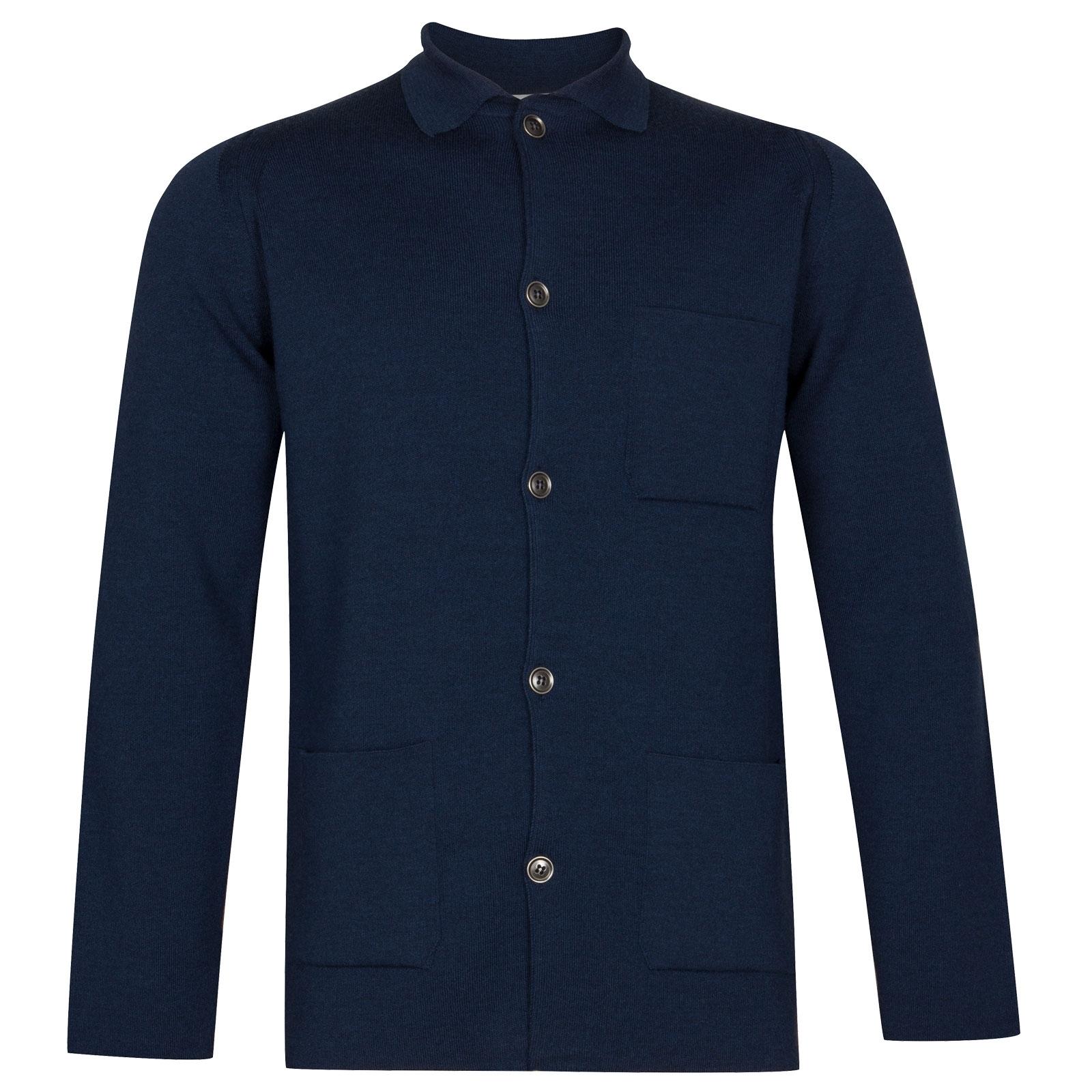 John Smedley Copper Merino Wool Jacket in Indigo-S