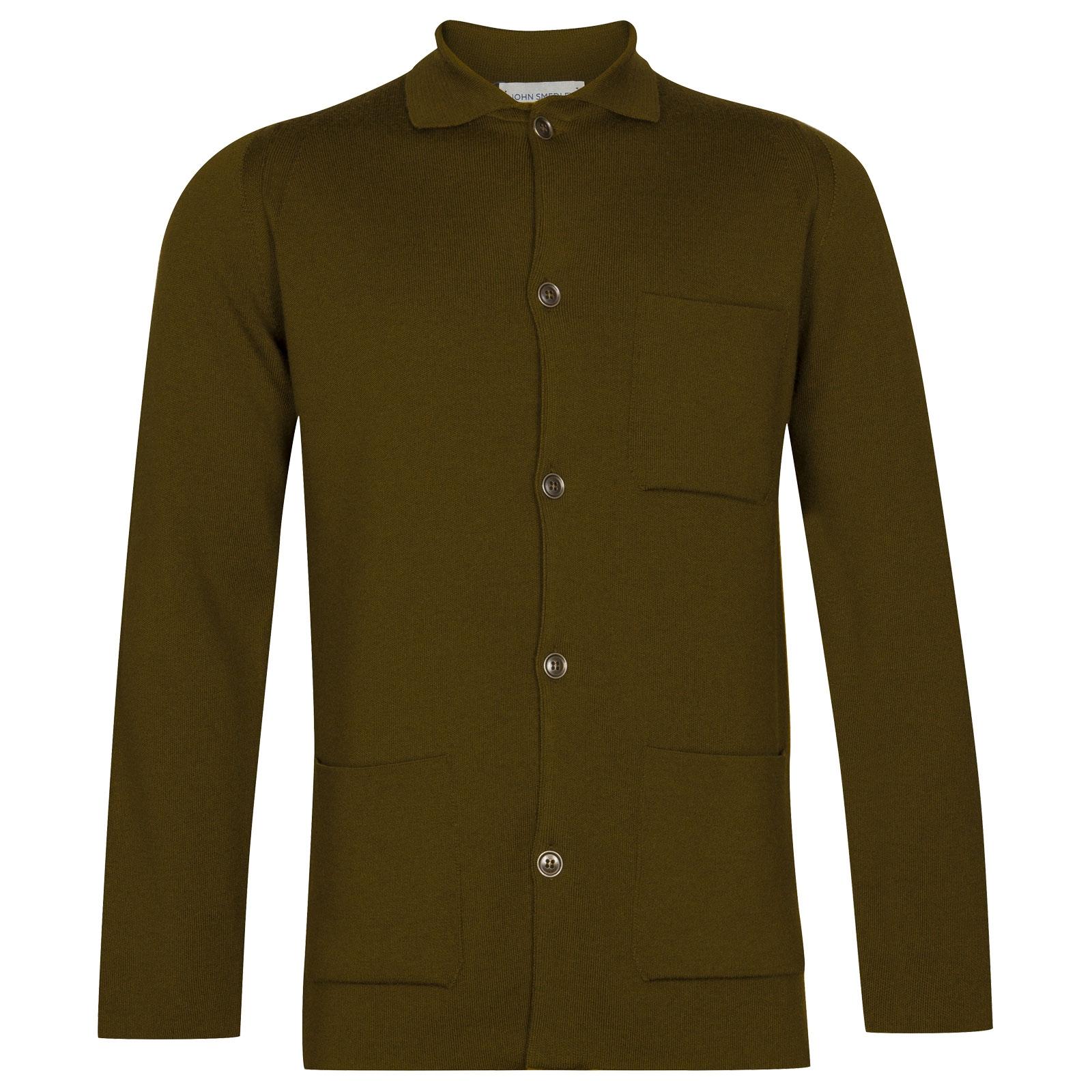 John Smedley Copper Merino Wool Jacket in Khaki-XL