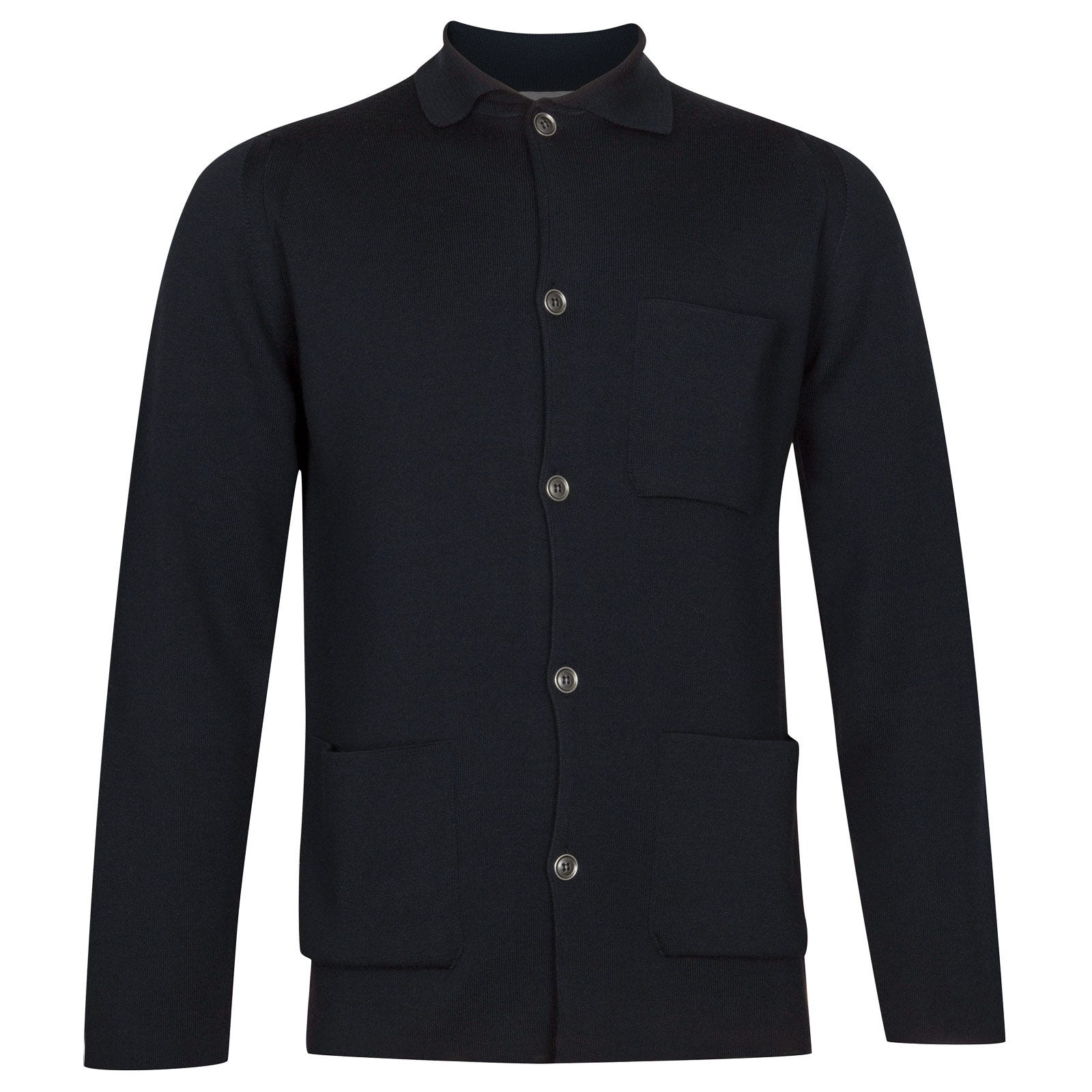 John Smedley Copper Merino Wool Jacket in Midnight-XL
