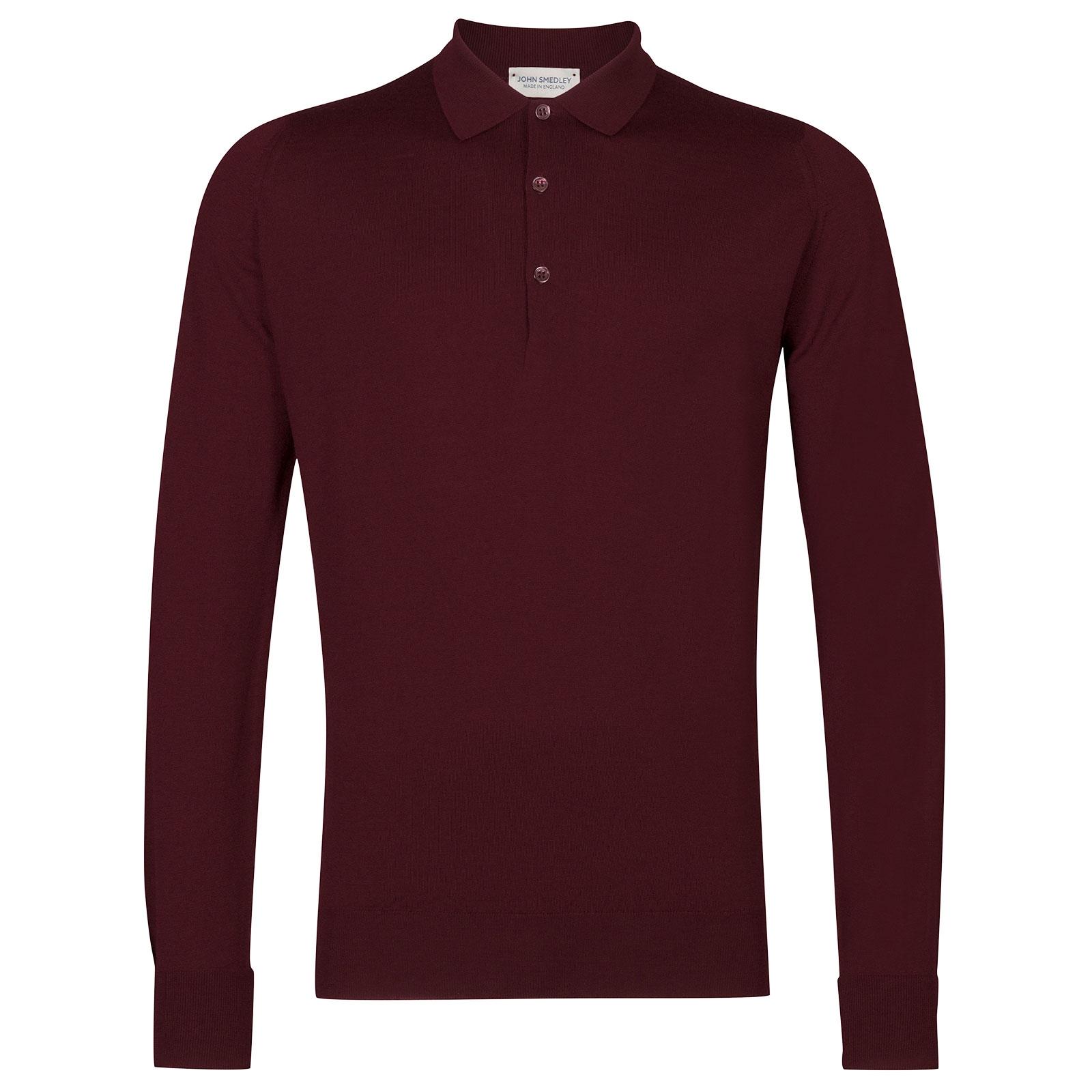 John Smedley Cotswold Merino Wool Shirt in Bordeaux-L