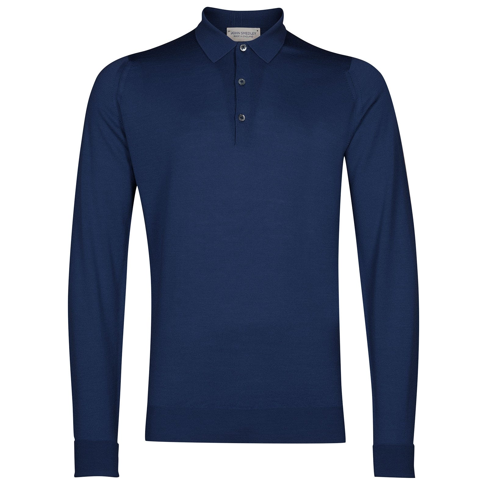 John Smedley Cotswold Merino Wool Shirt in Magnetic Cobalt-XL