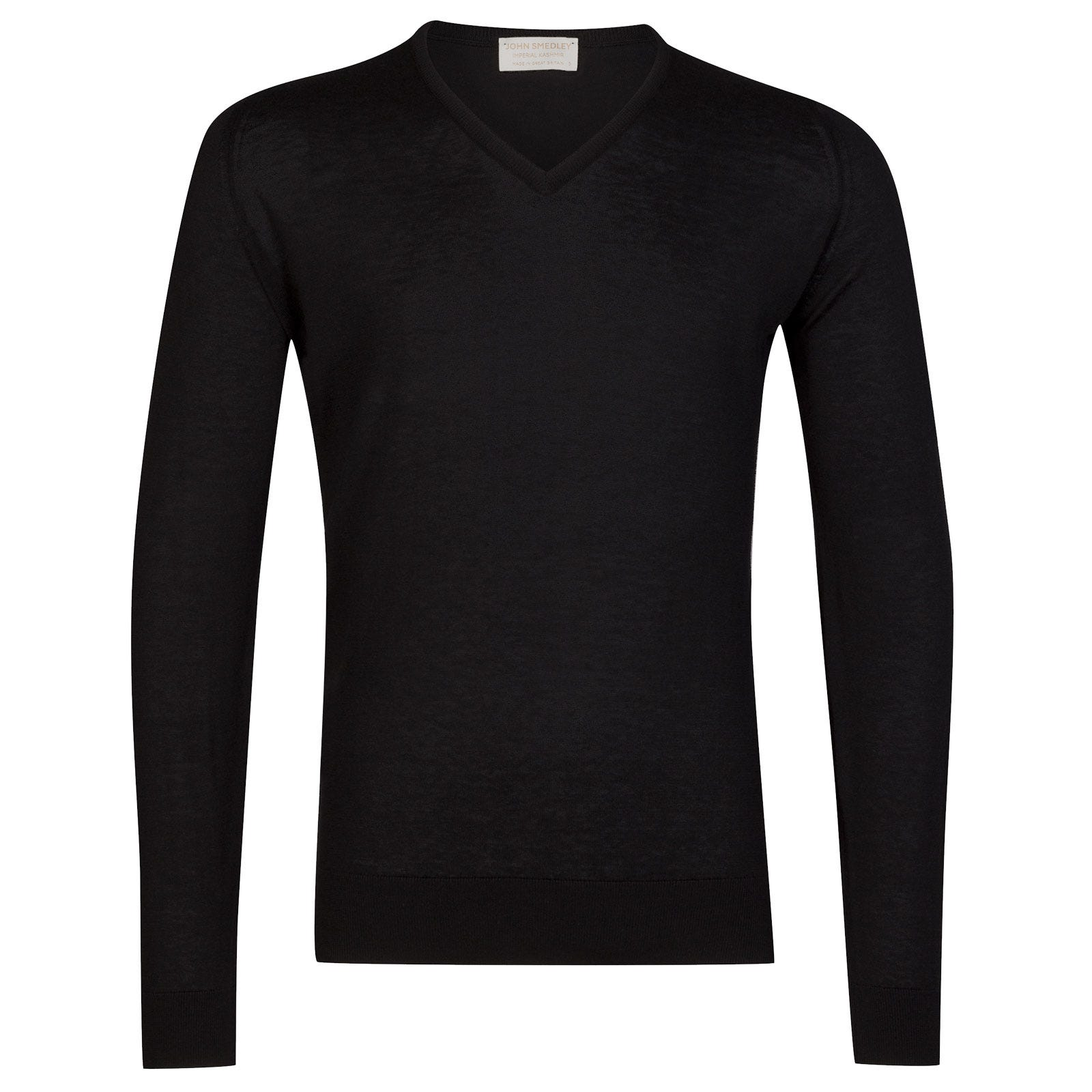 John Smedley Dayton Sea Island Cotton and Cashmere Pullover in Black-M