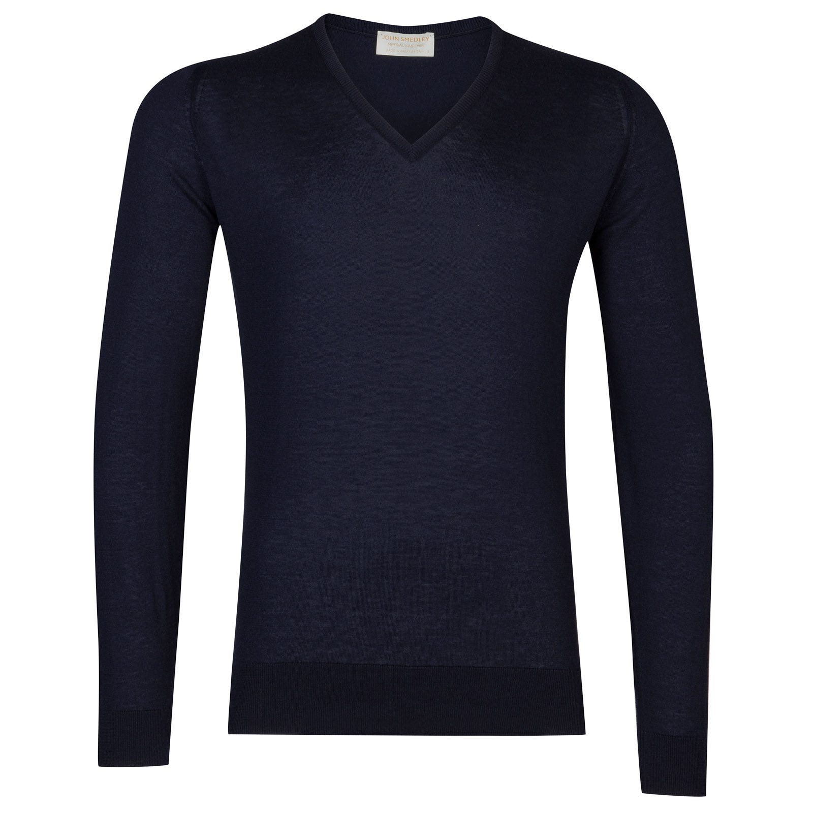 John Smedley Dayton Sea Island Cotton and Cashmere Pullover in Navy-L