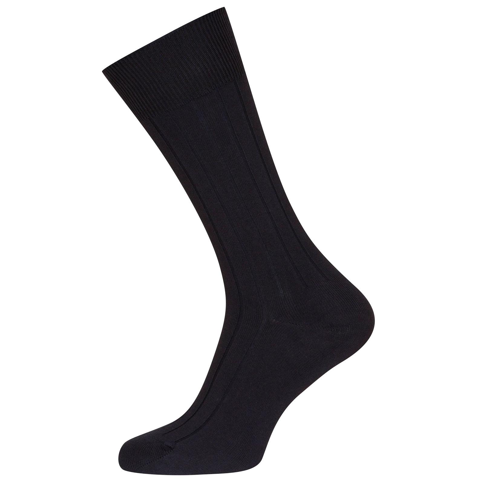 John Smedley Delta Sea Island Cotton Socks in Navy-S/M