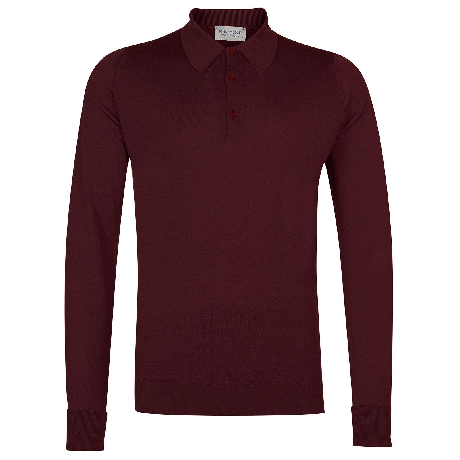 John Smedley Dorset Merino Wool Shirt in Bordeaux-S