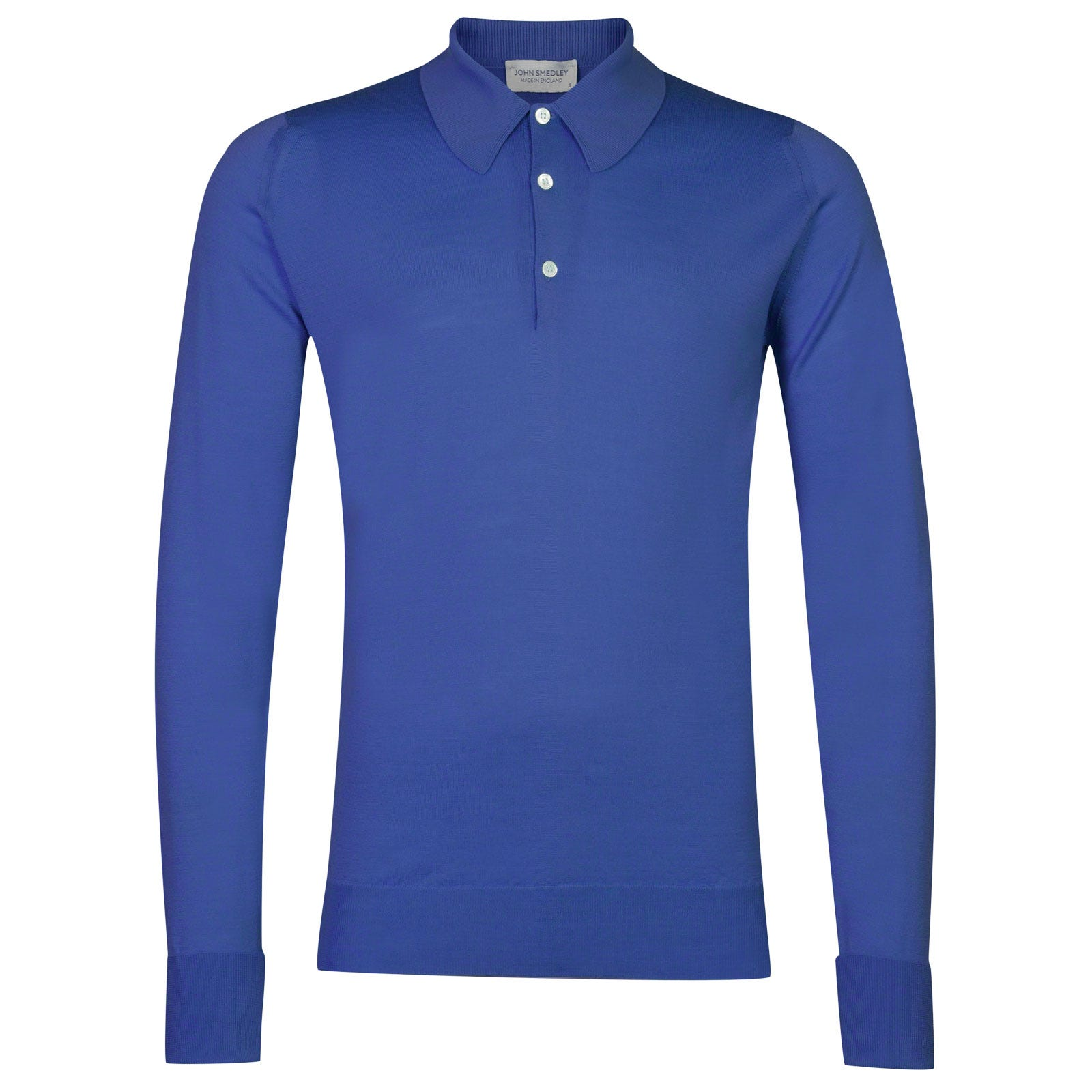 John Smedley dorset Merino Wool Shirt in Chambray Blue-M