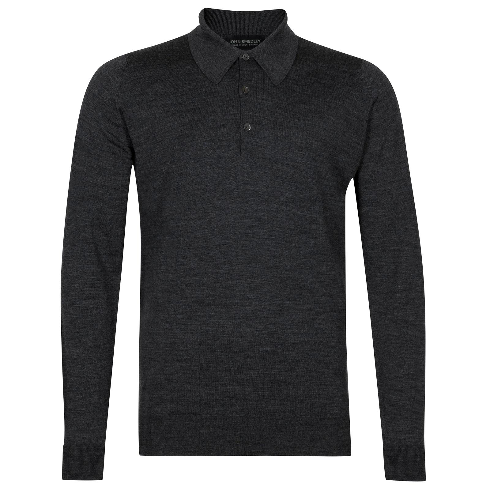 John Smedley dorset Merino Wool Shirt in Charcoal-XS