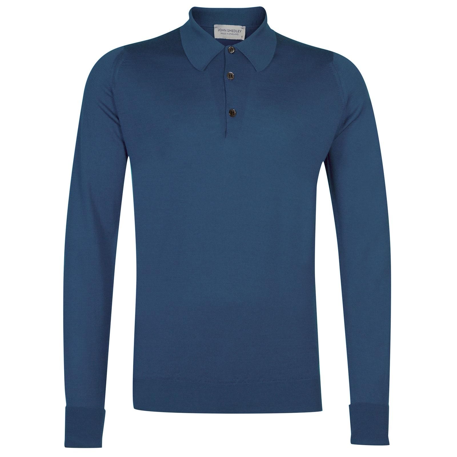 John Smedley dorset Merino Wool Shirt in Derwent Blue-S