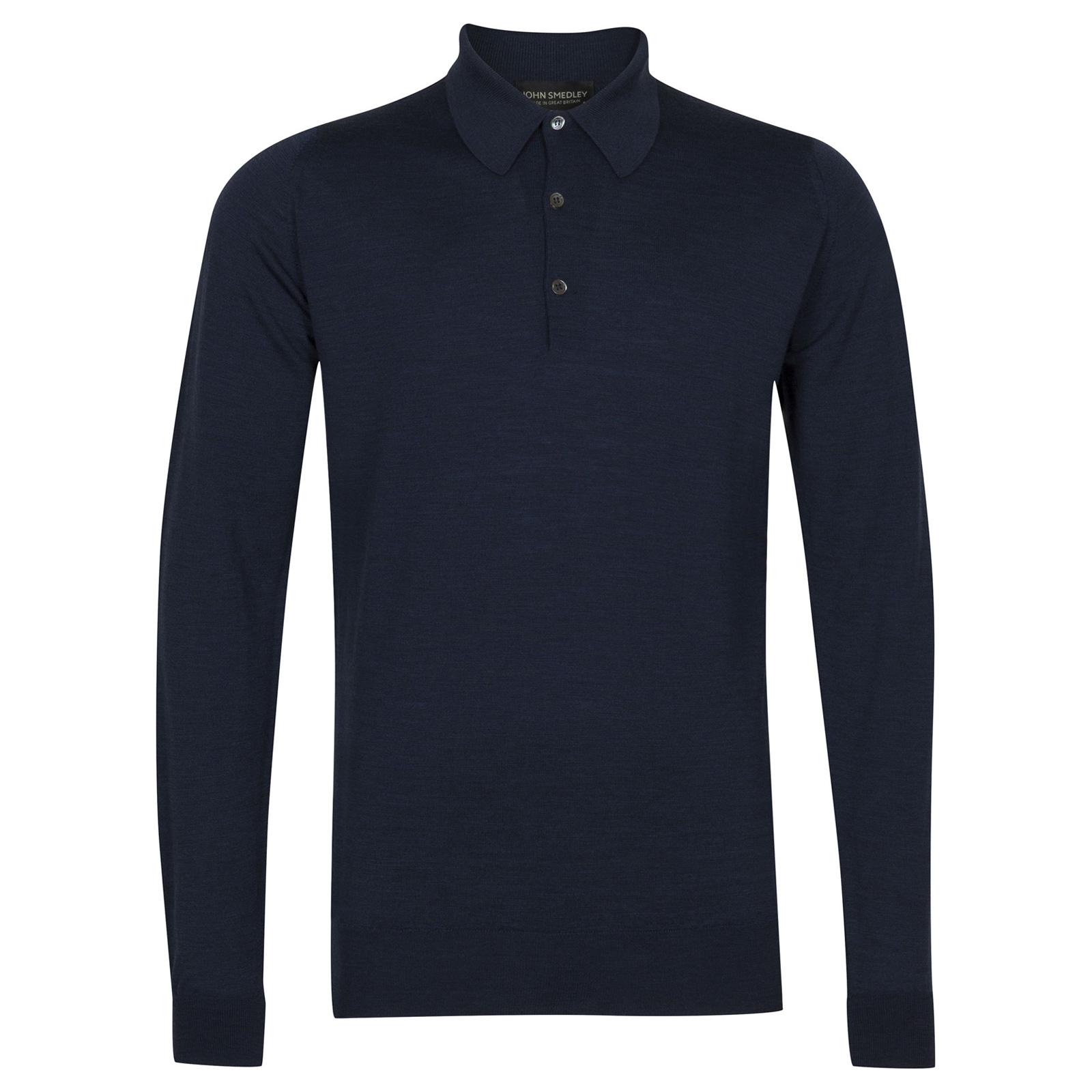 John Smedley dorset Merino Wool Shirt in Indigo-S