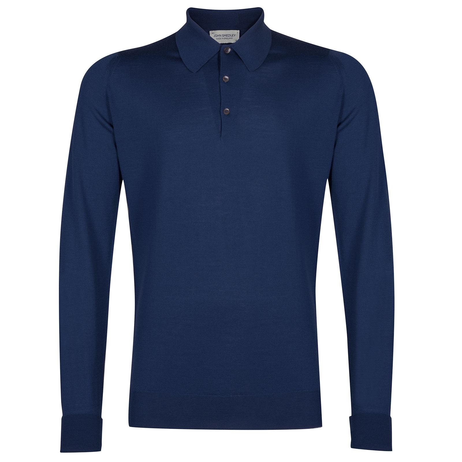 John Smedley Dorset Merino Wool Shirt in Magnetic Cobalt-S