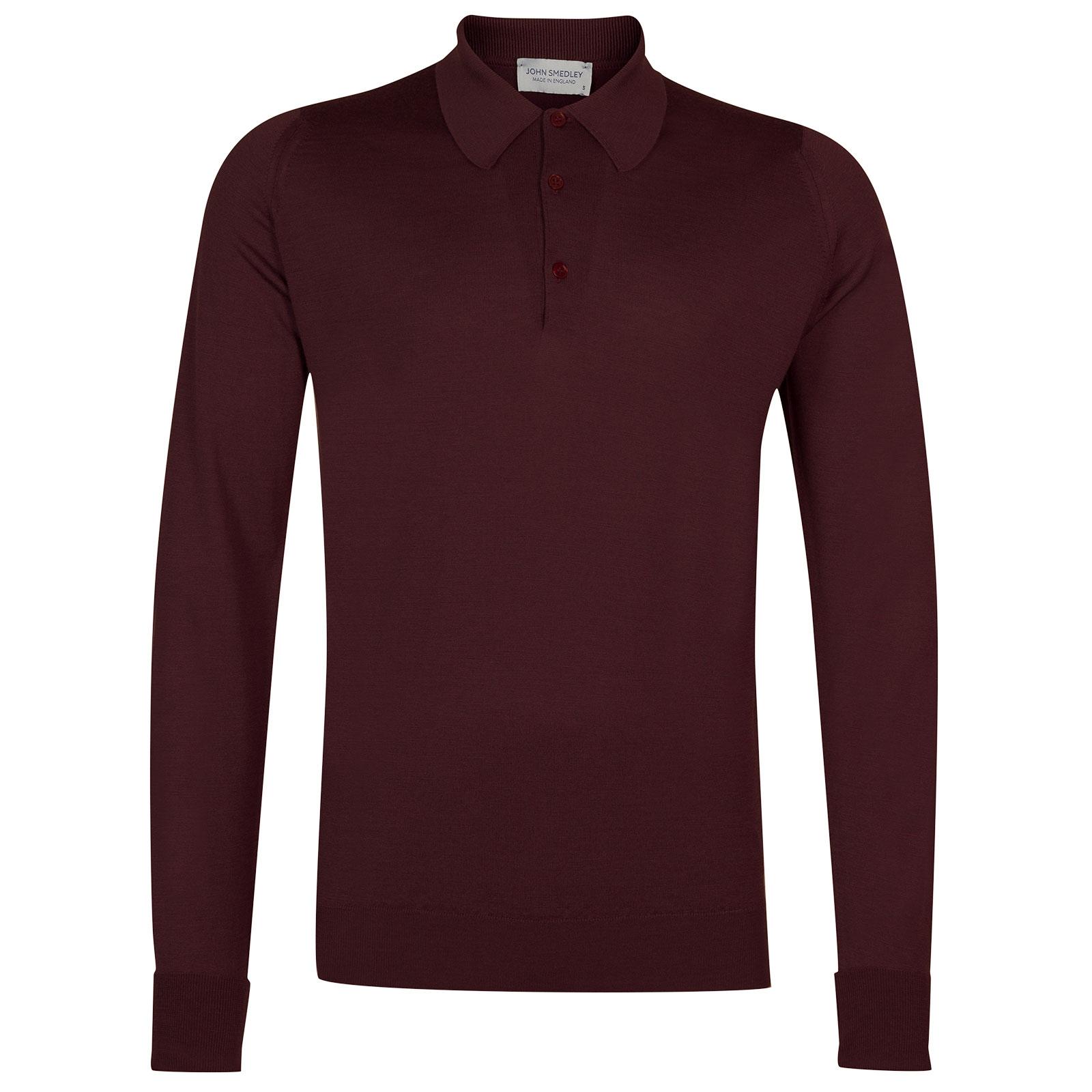 John Smedley dorset Merino Wool Shirt in Maroon Blaze-XS