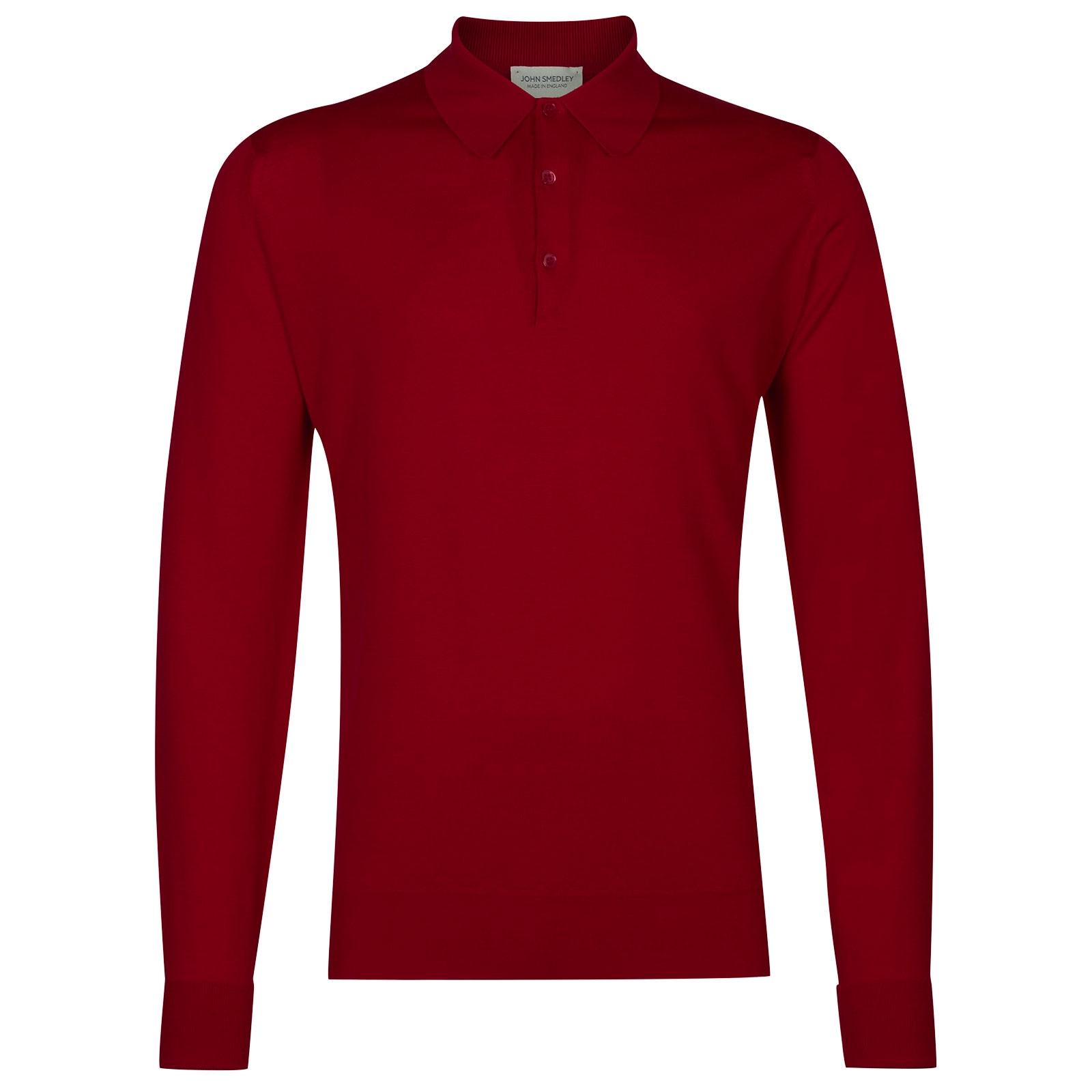 John Smedley Dorset Merino Wool Shirt in Thermal Red-XL