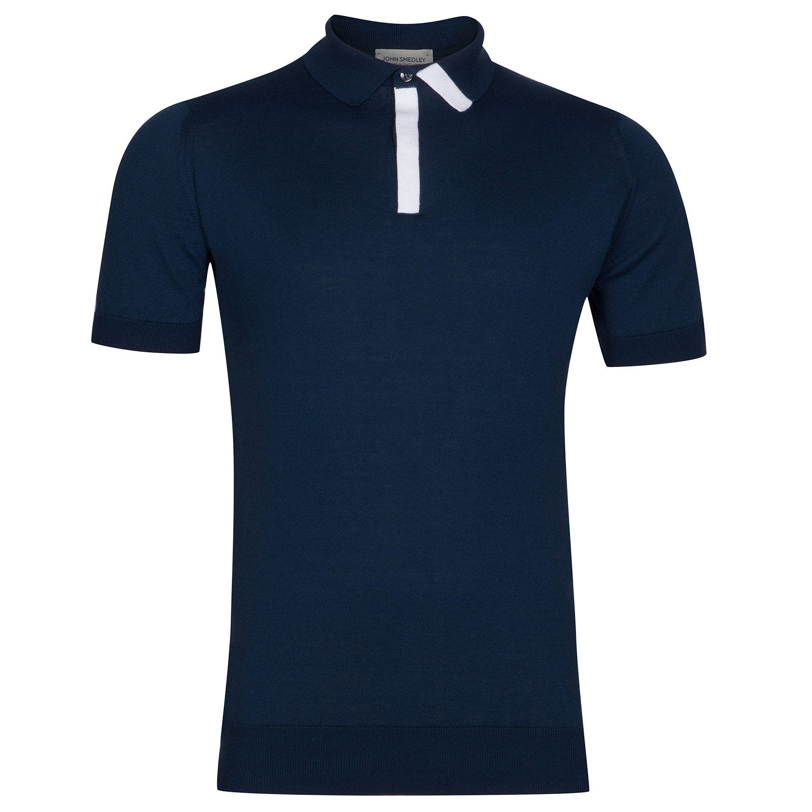 John Smedley Duxford Sea Island Cotton Polo Shirt in Indigo-XLG