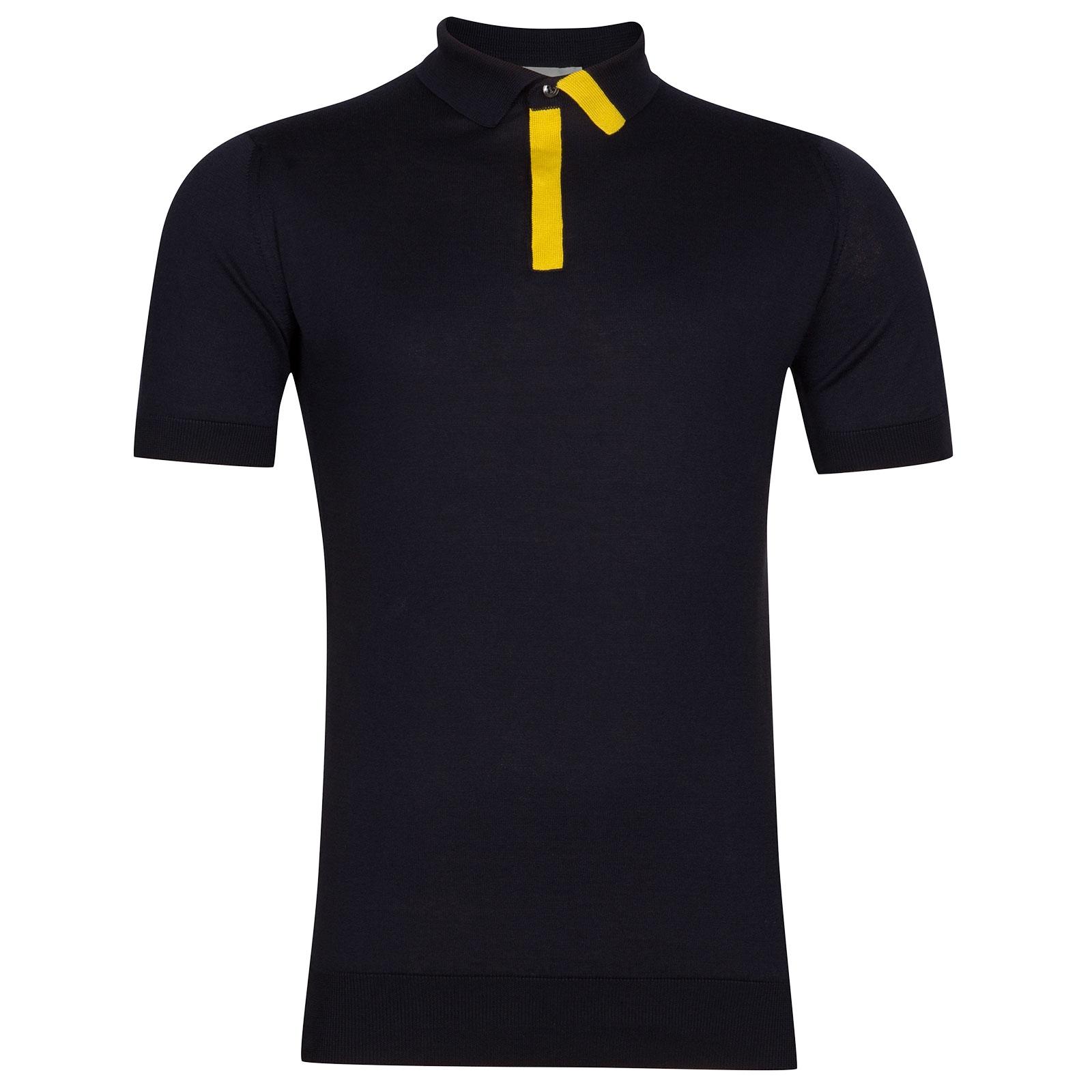 John Smedley Duxford Sea Island Cotton Polo Shirt in Navy-XXL