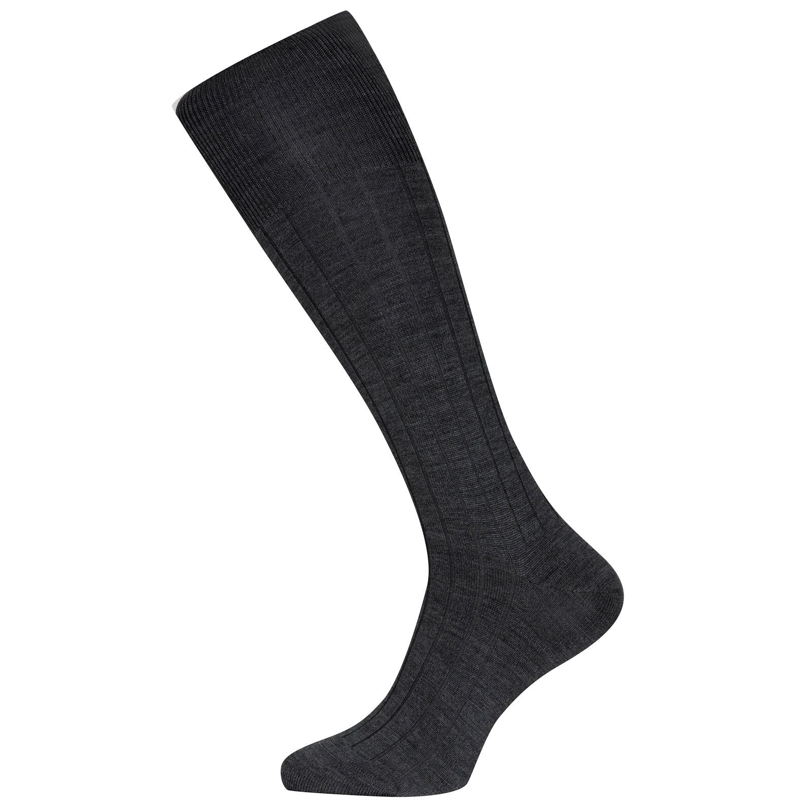 John Smedley Ebury Merino Wool Socks in Charcoal-S/M