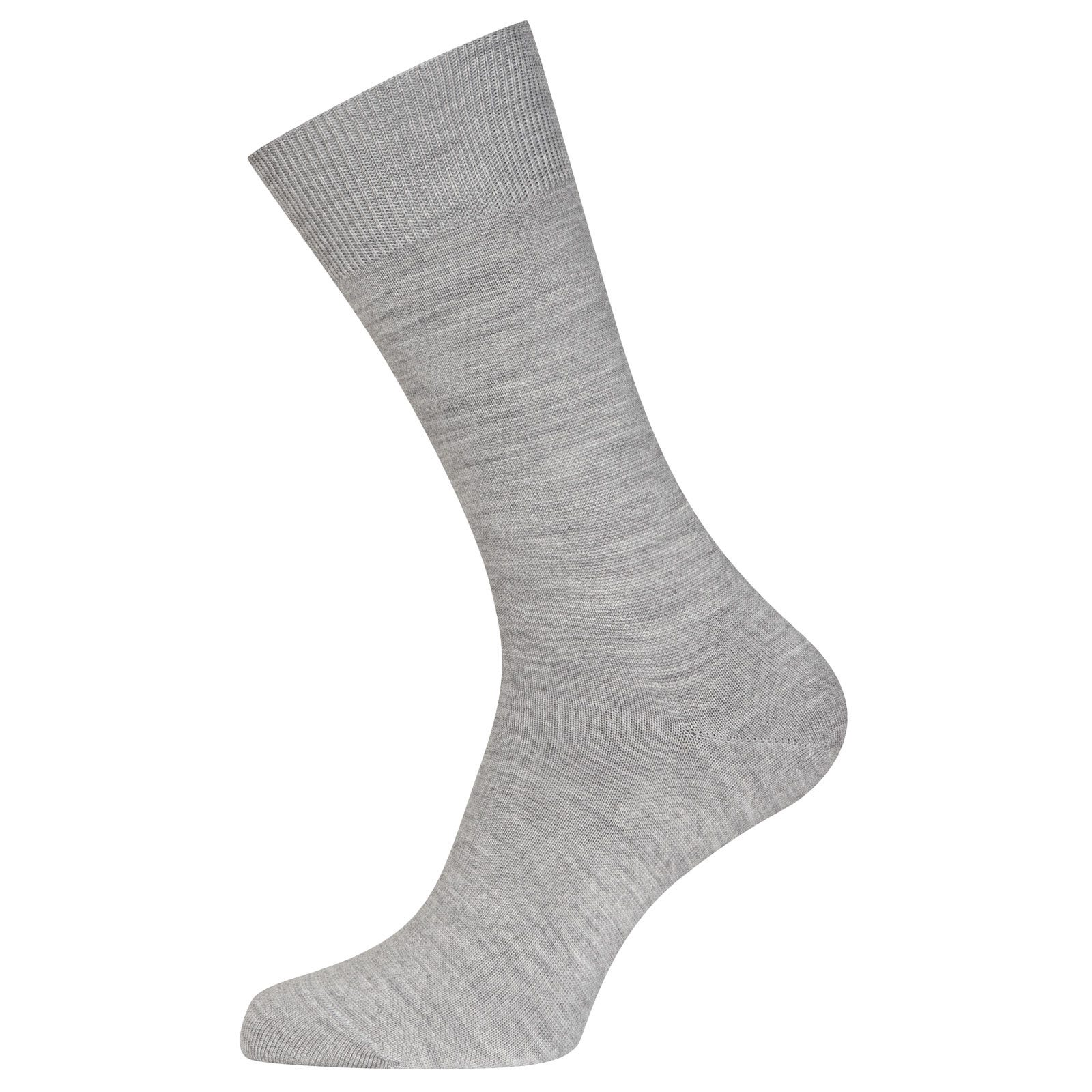John Smedley Eros Sea Island Cotton and Cashmere Socks in Silver-S/M