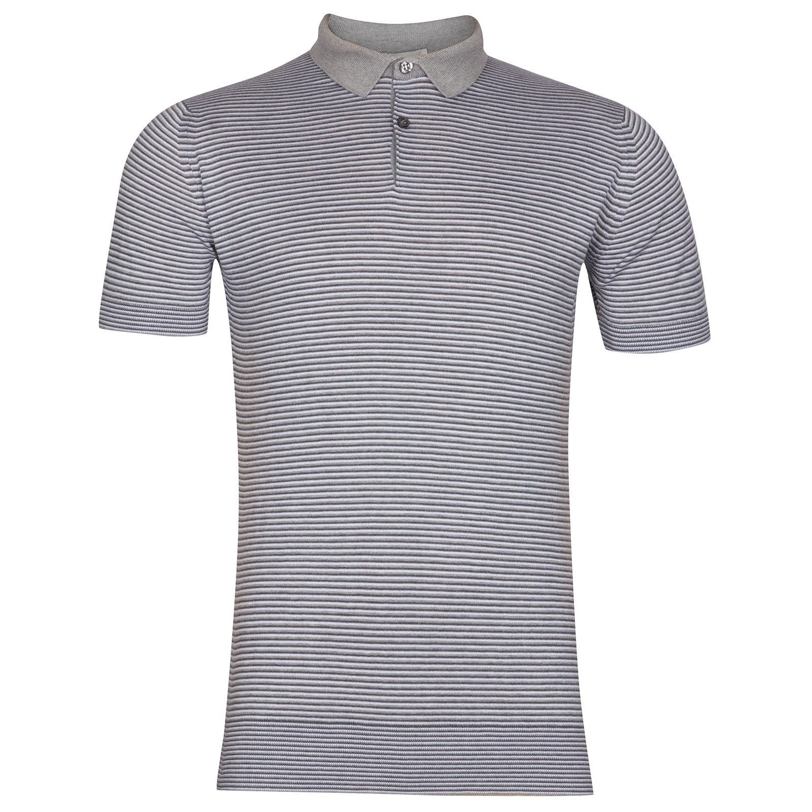 John Smedley Etton Sea Island Cotton Shirt in Silver-M