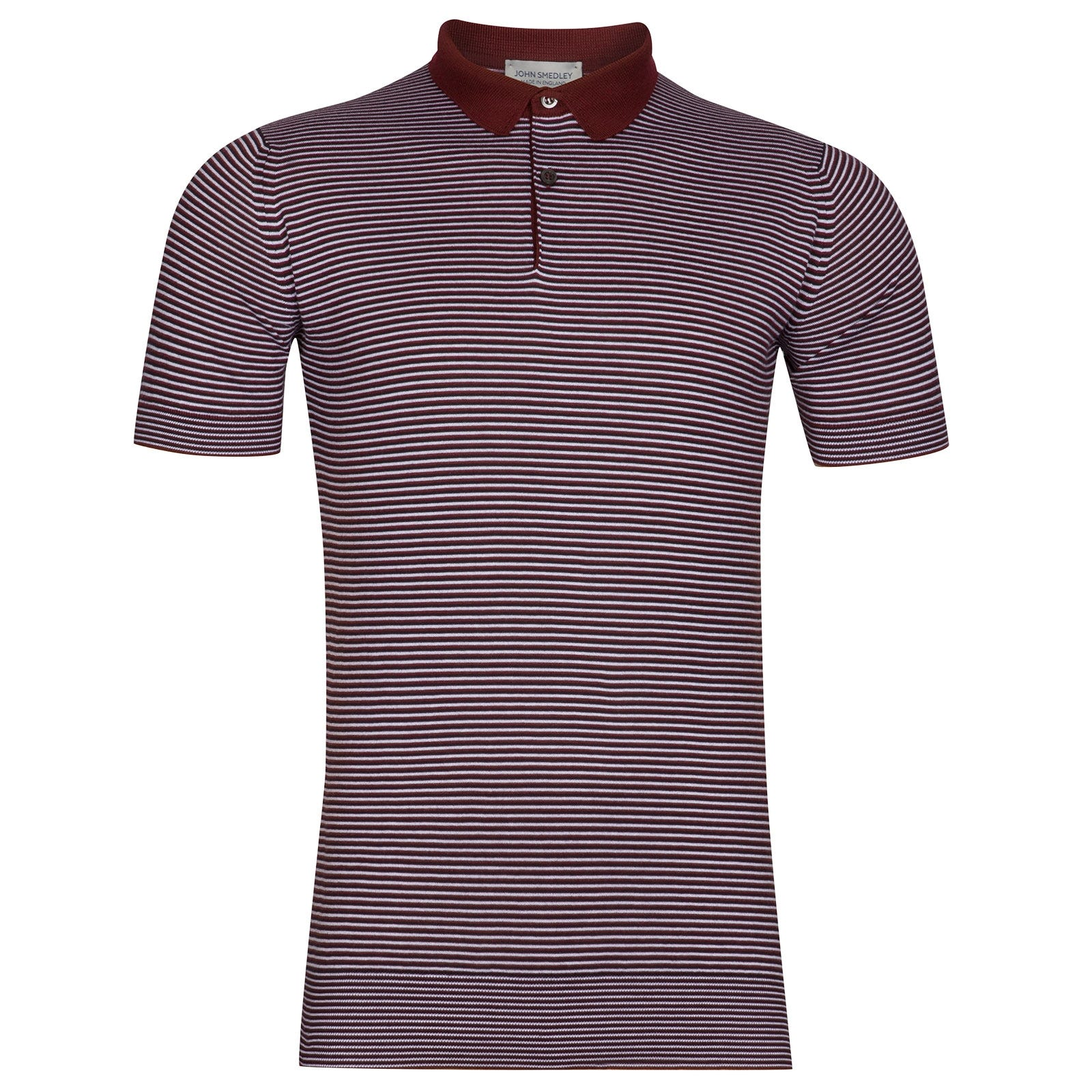 John Smedley Etton Sea Island Cotton Shirt in Burgundy Grain-M