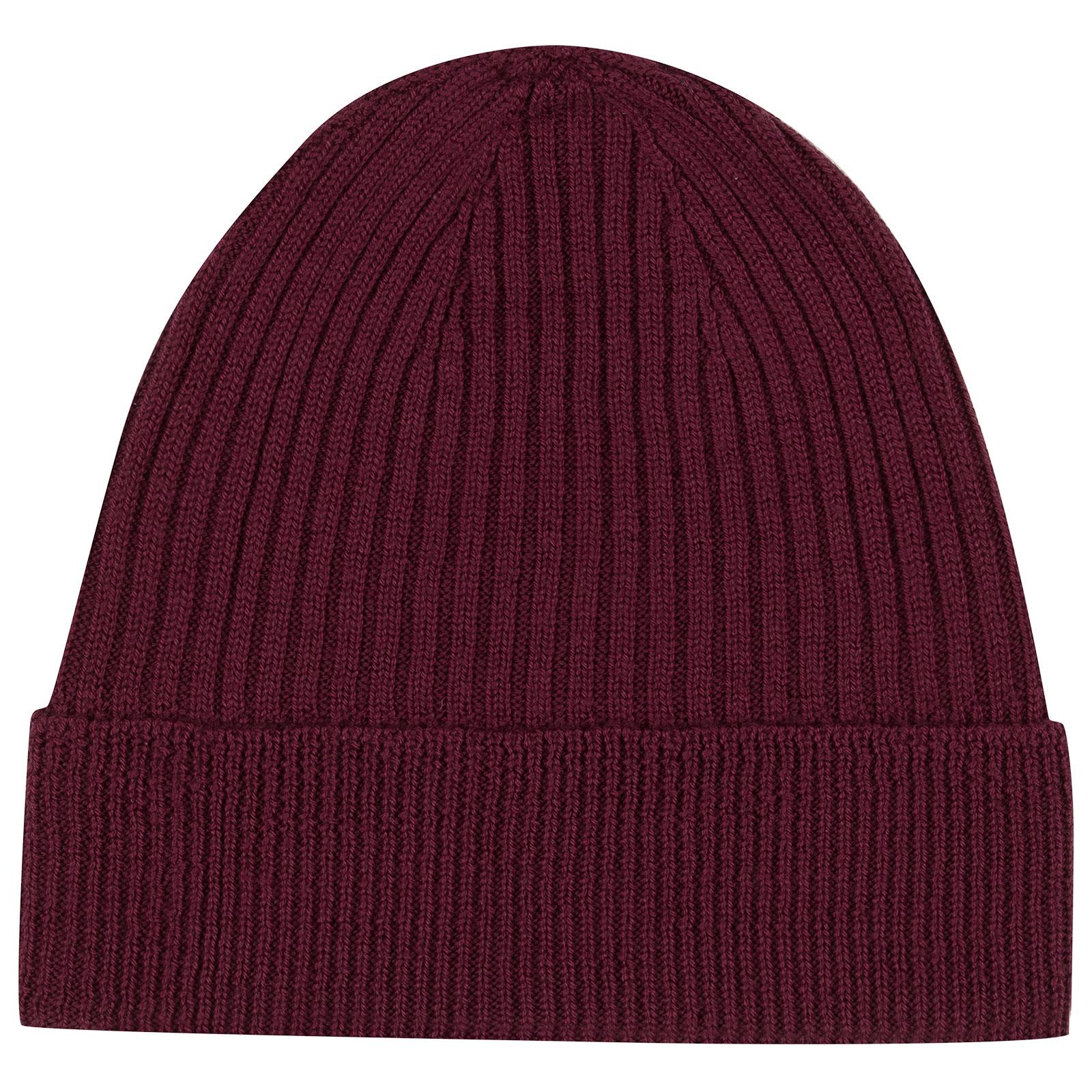 John Smedley Fahrenheit Merino Wool Hat in Bordeaux-ONE