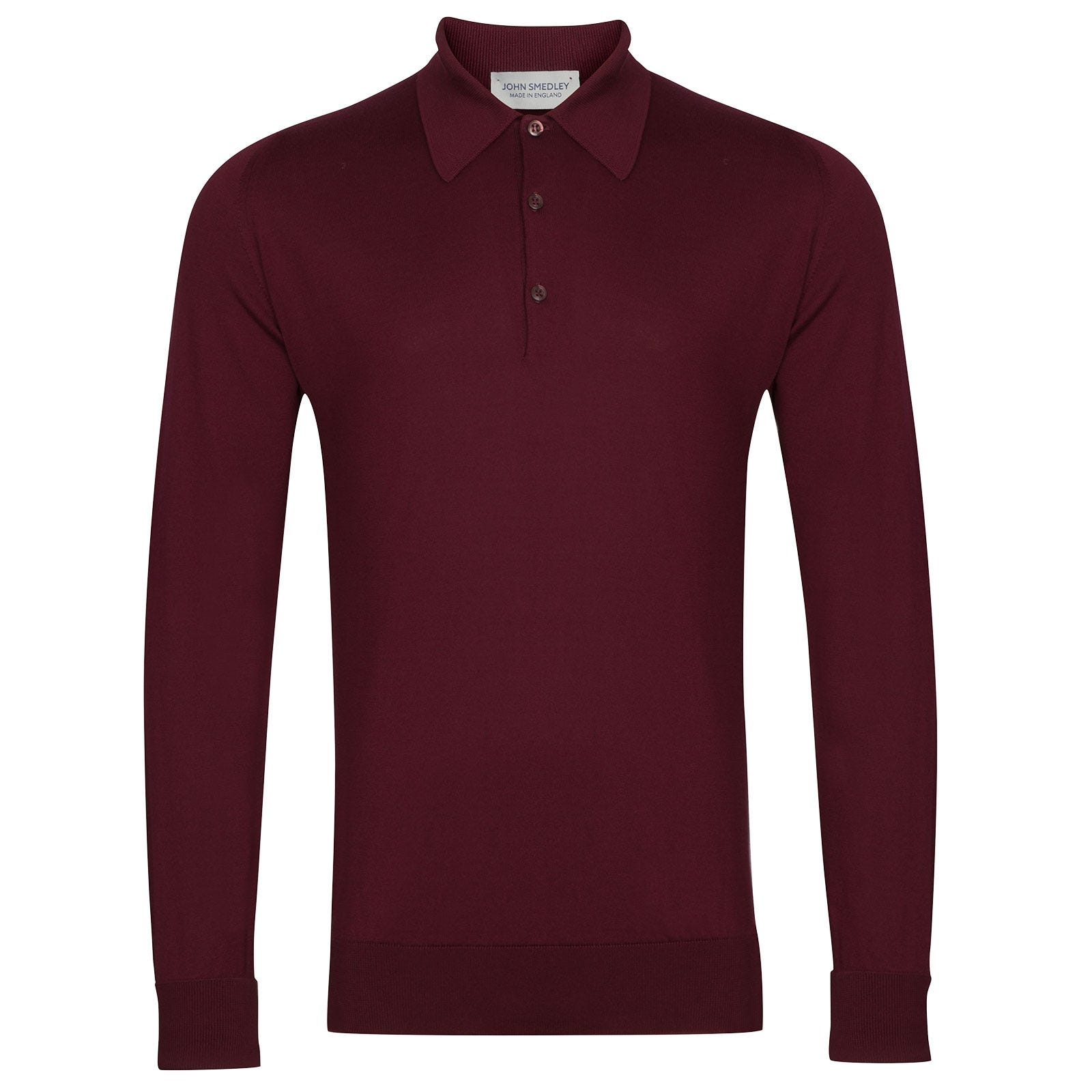 John Smedley Finchley Sea Island Cotton Shirt in Bordeaux-XXL