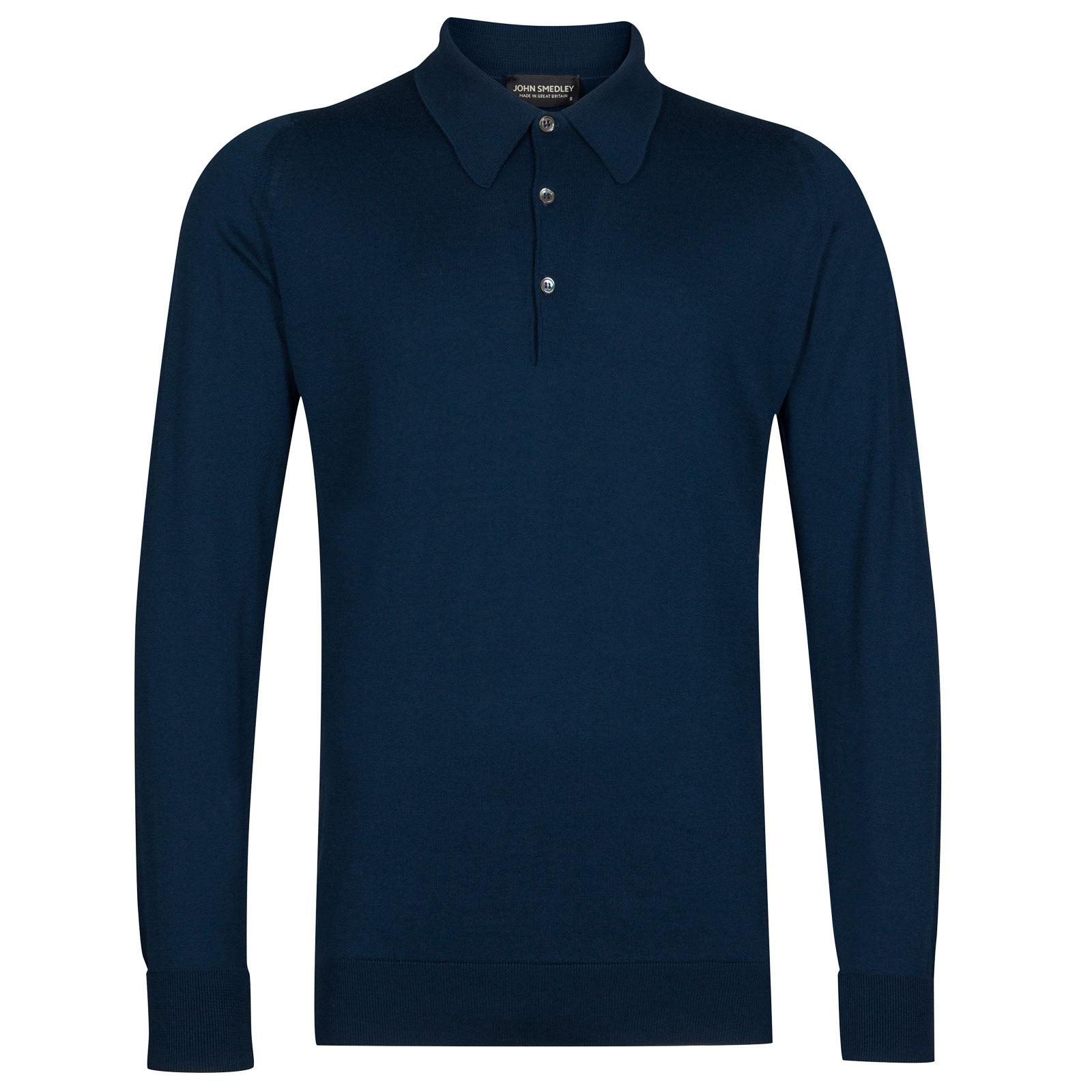 John Smedley finchley Sea Island Cotton Shirt in Indigo-XS