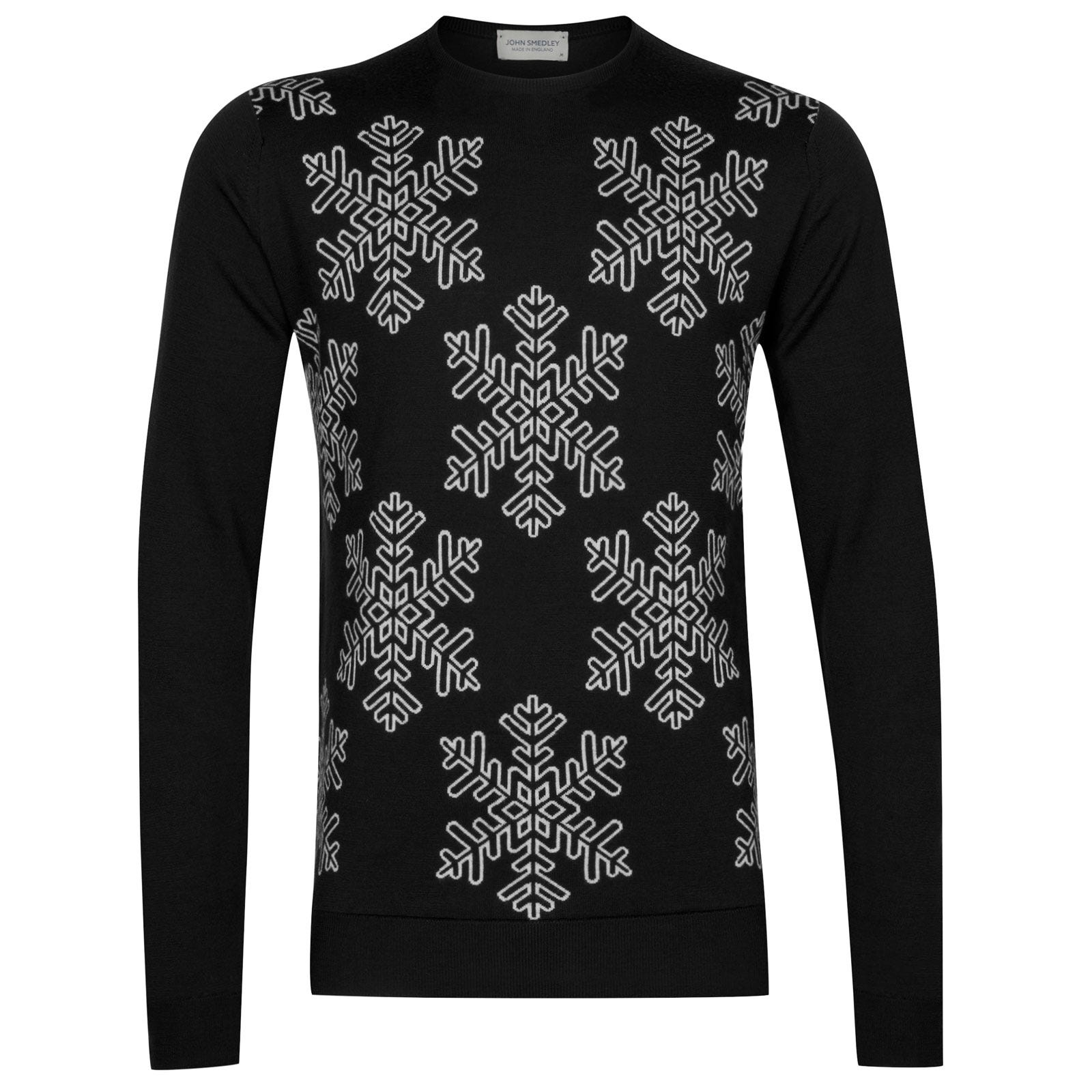 John Smedley Flake Pullover in Black-XXL