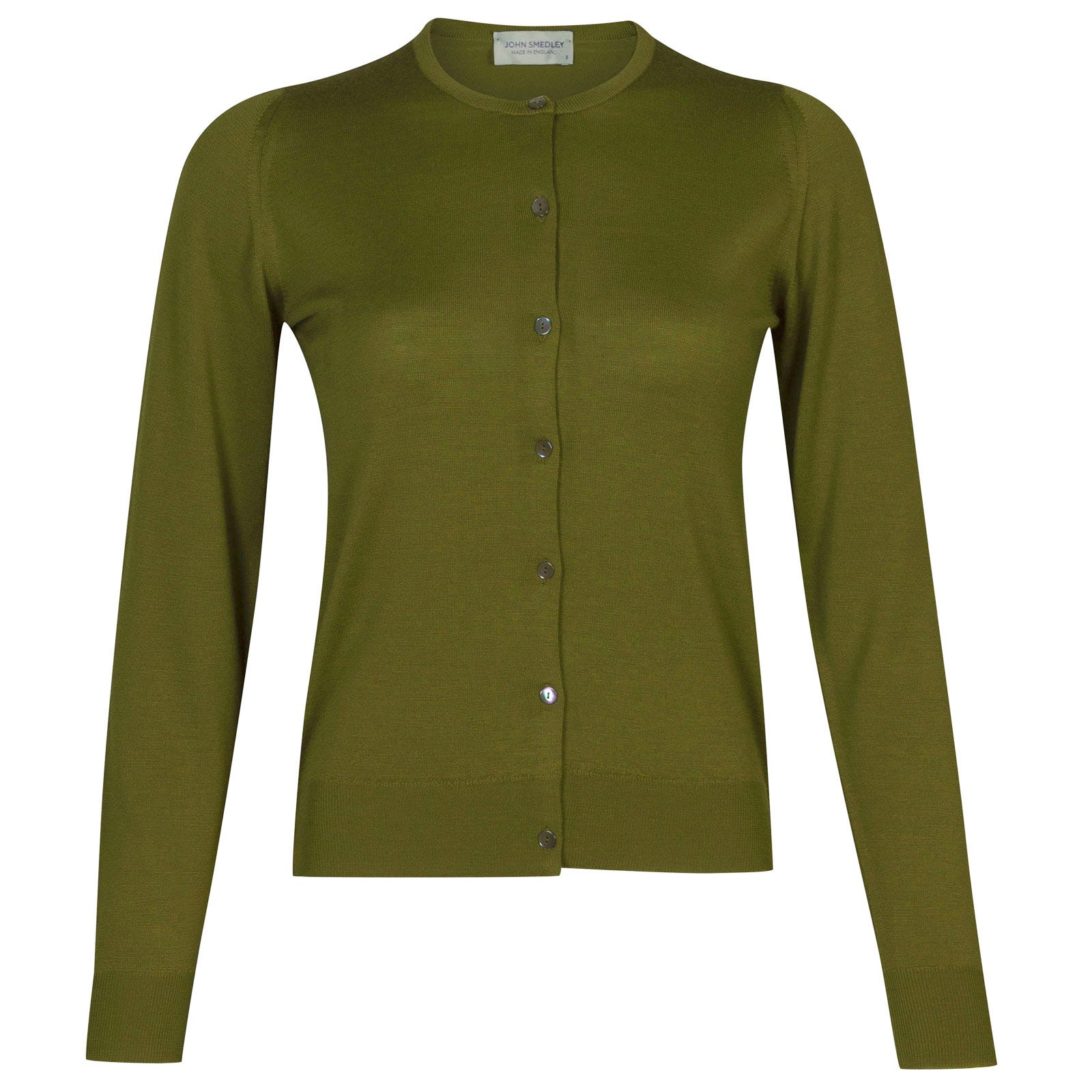 John Smedley florence Merino Wool Cardigan in Lumsdale Green-M