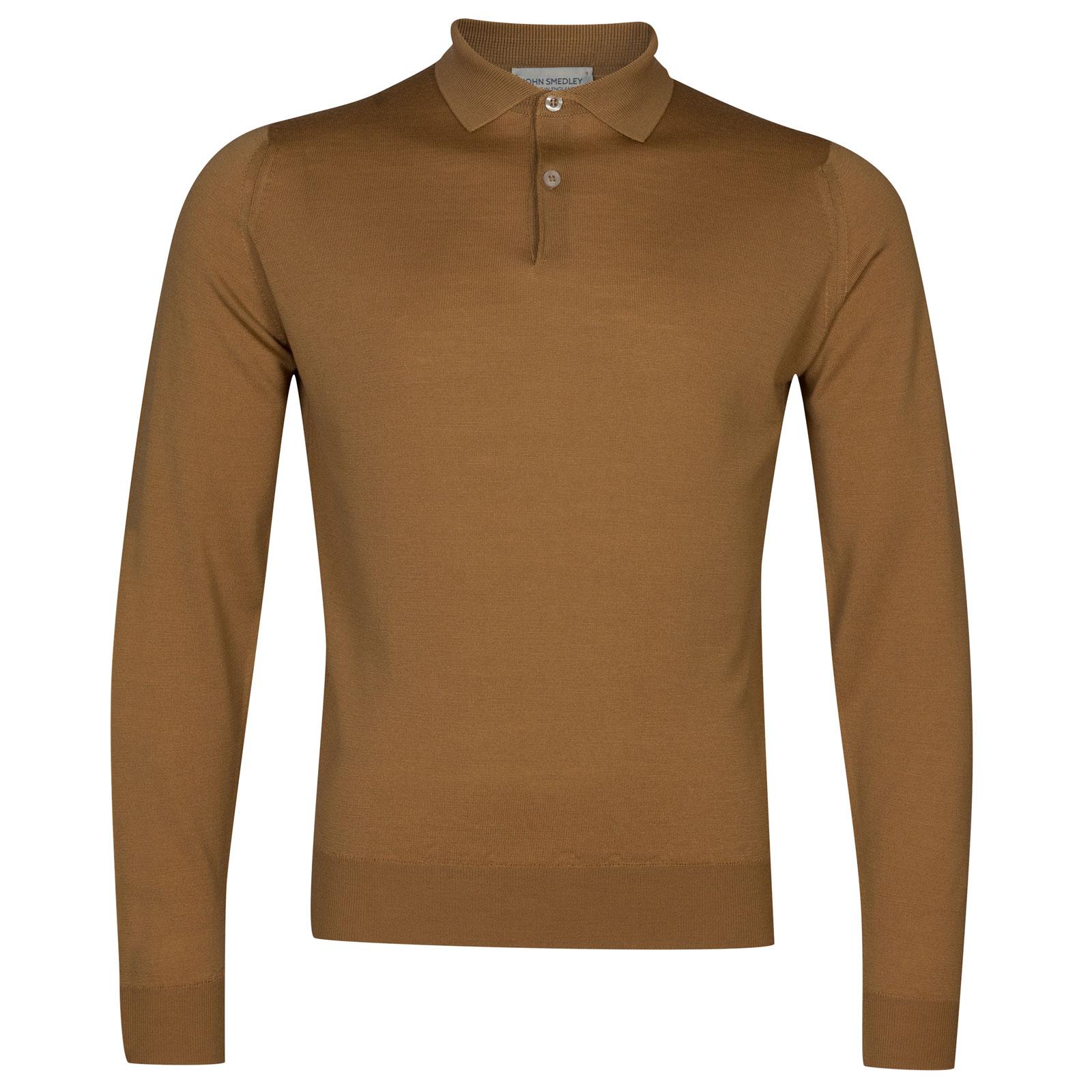 John Smedley garda Merino Wool Shirt in Camel-XXL