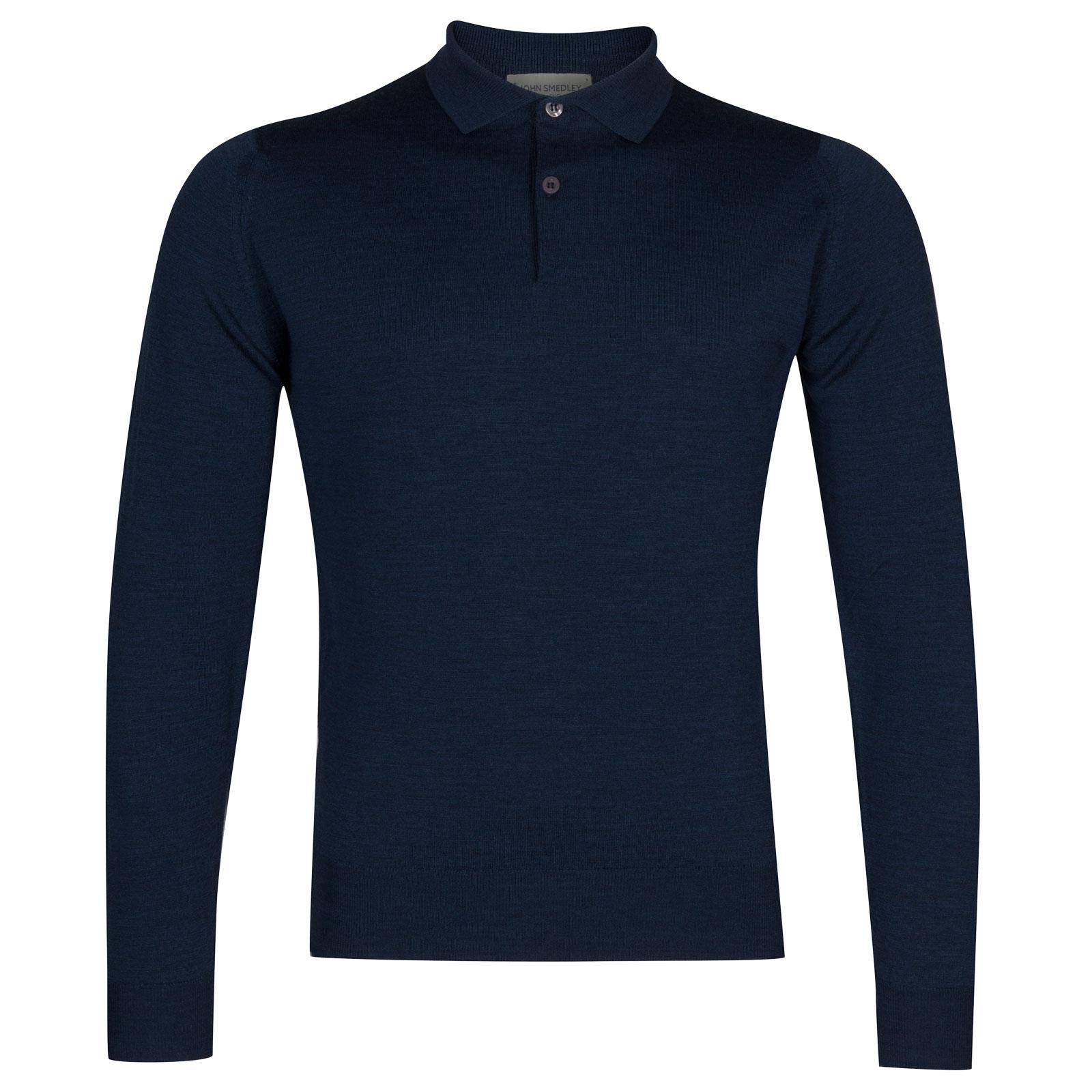 John Smedley garda Merino Wool Shirt in Indigo-S
