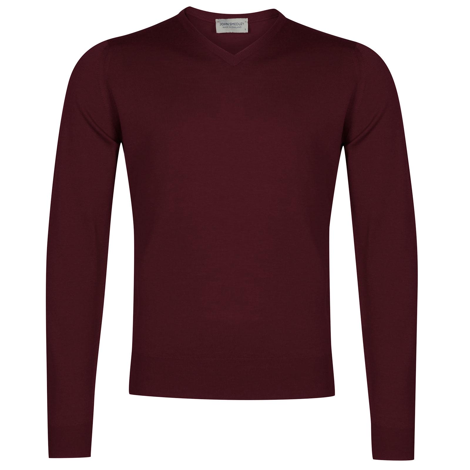John Smedley Genoa Merino Wool Pullover in Bordeaux-XL