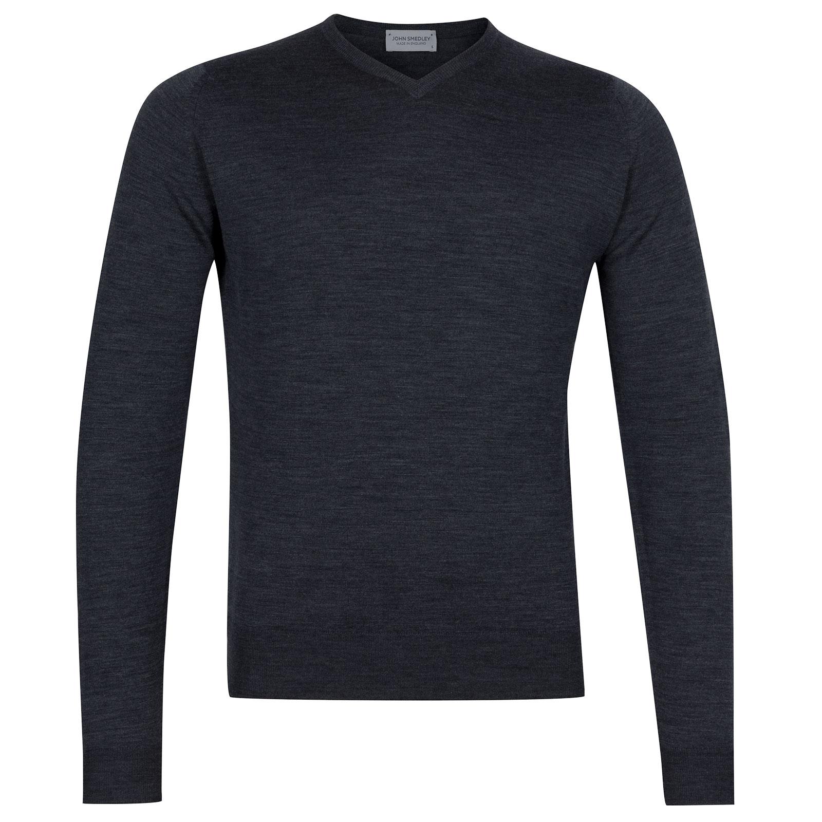 John Smedley Genoa Merino Wool Pullover in Charcoal-XL