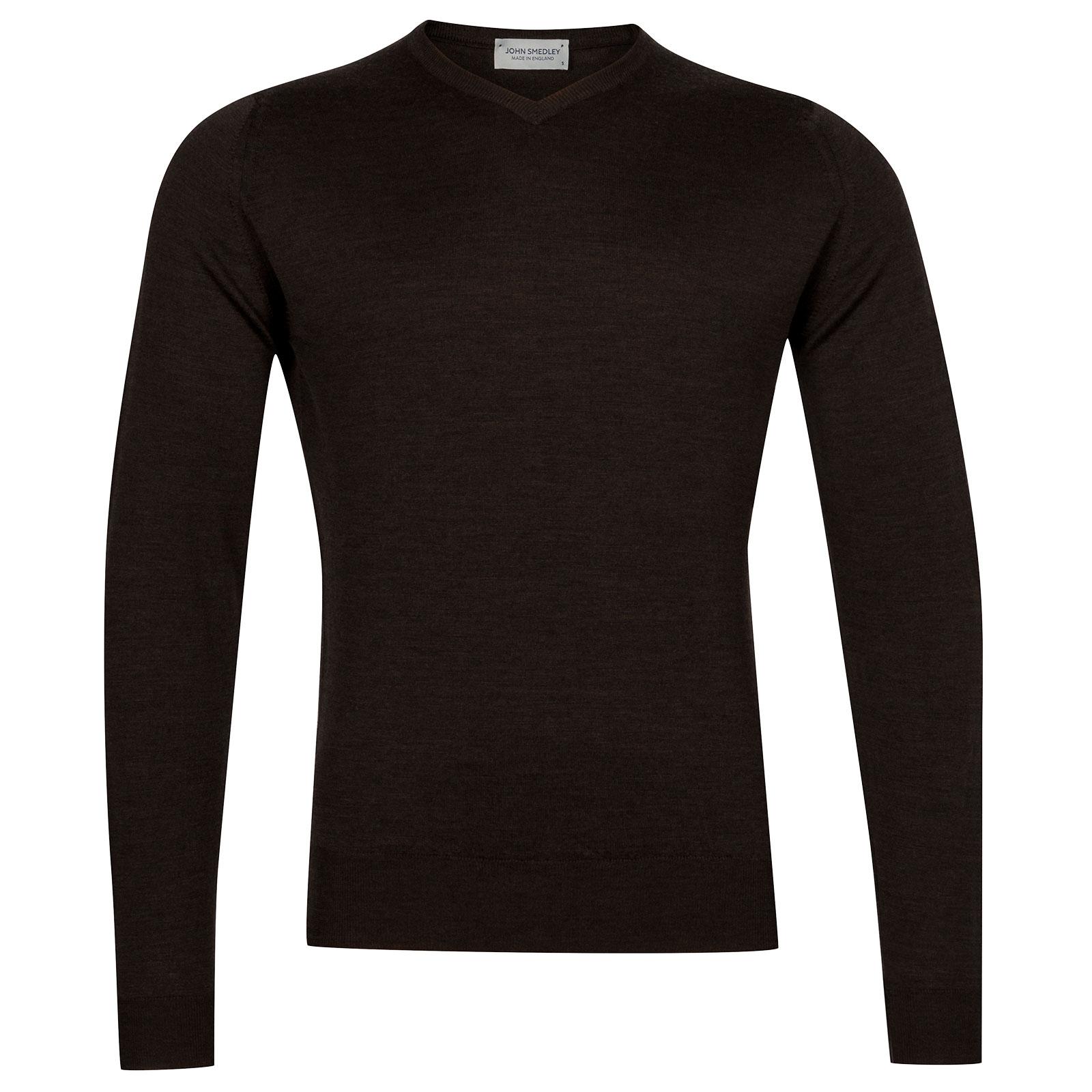 John Smedley Genoa Merino Wool Pullover in Chestnut-XXL