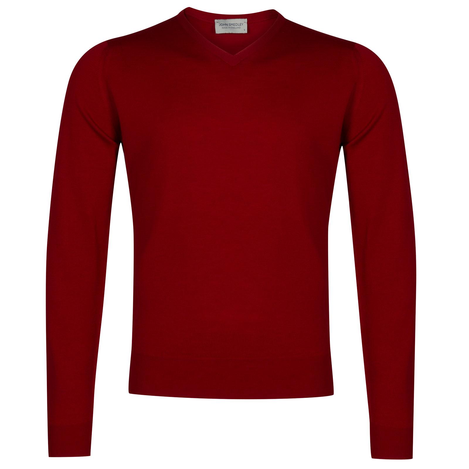 John Smedley genoa Merino Wool Pullover in Crimson Forest-XL