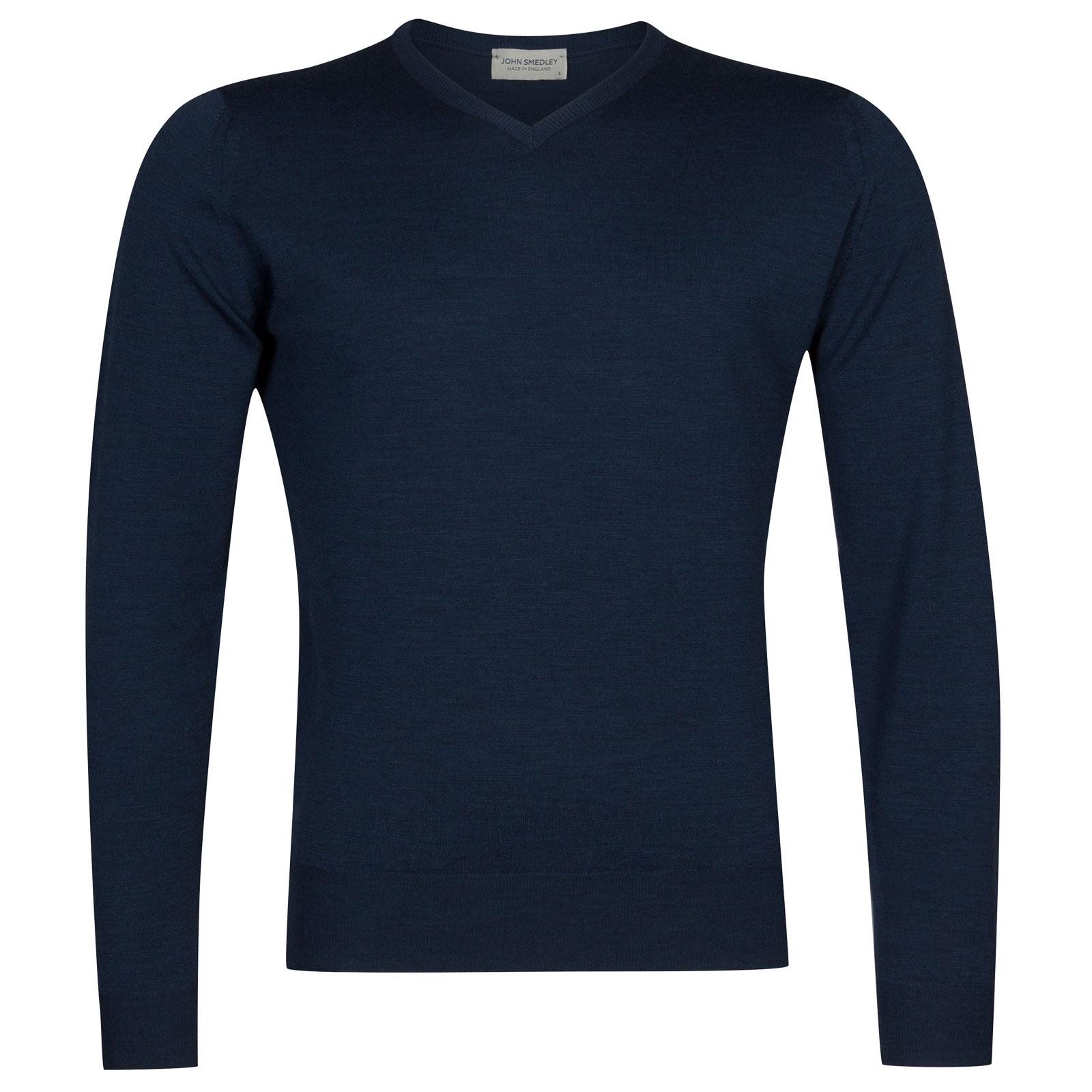 John Smedley Genoa Merino Wool Pullover in Indigo-XXL