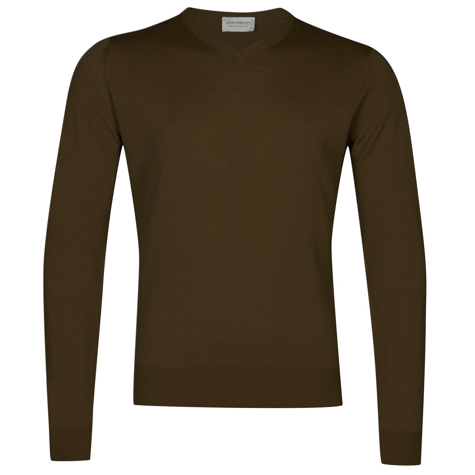 John Smedley Genoa Merino Wool Pullover in Khaki-S