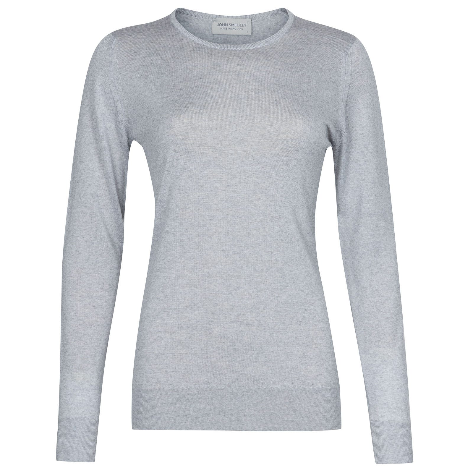 John Smedley Geranium in Bardot Grey Merino Wool Sweater-LGE