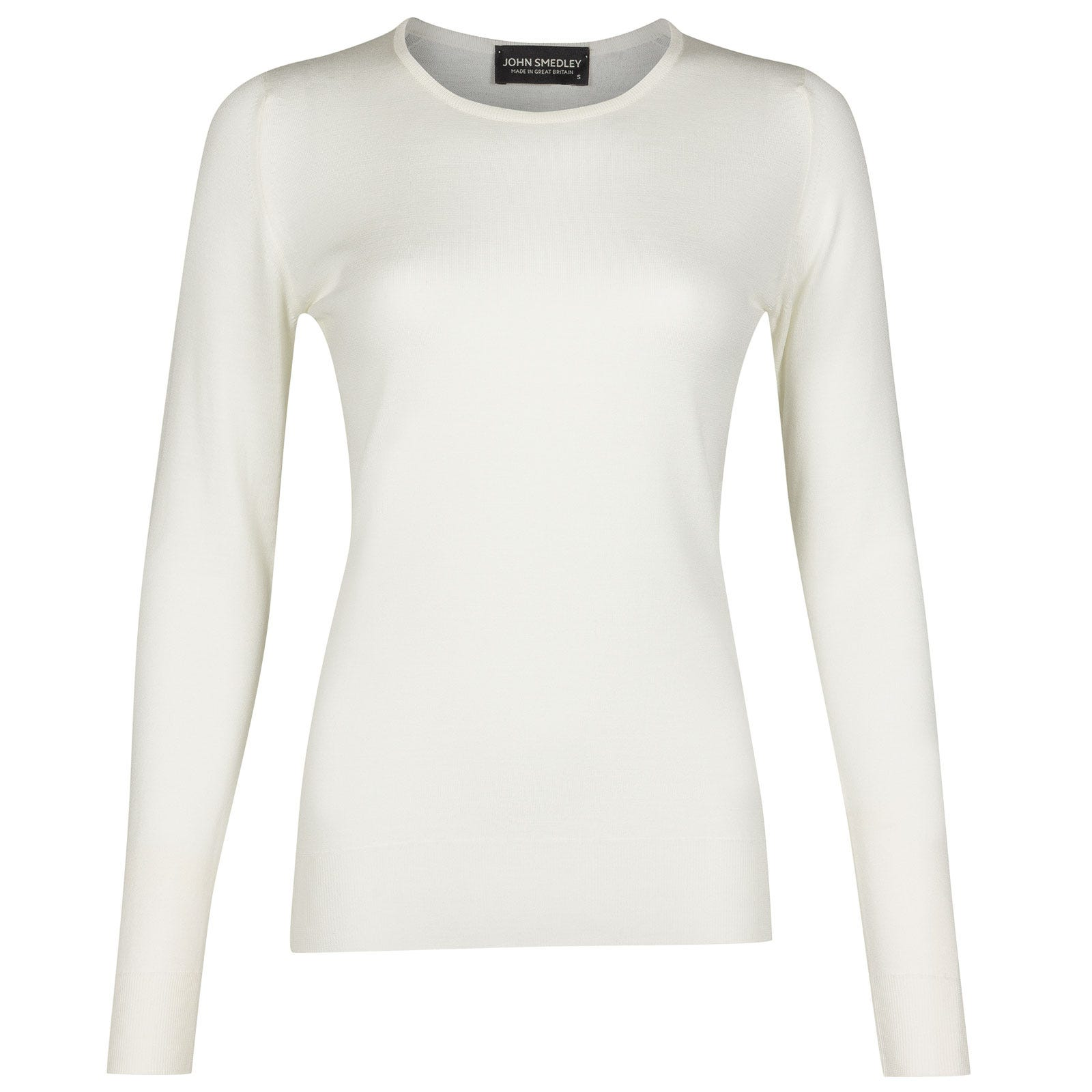 John Smedley Geranium Merino Wool Sweater in Snow White-XL