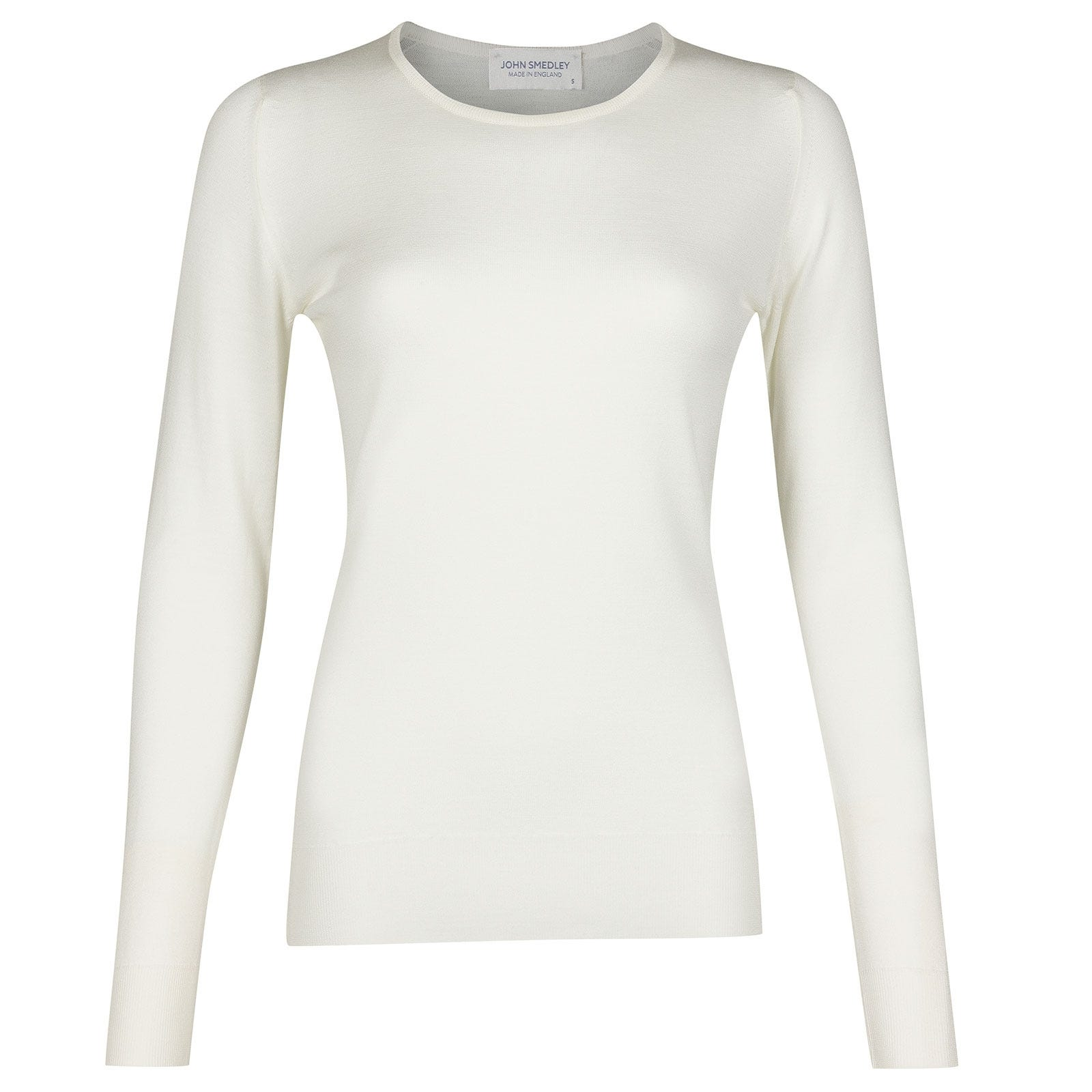 John Smedley Geranium Merino Wool Sweater in Snow White-M