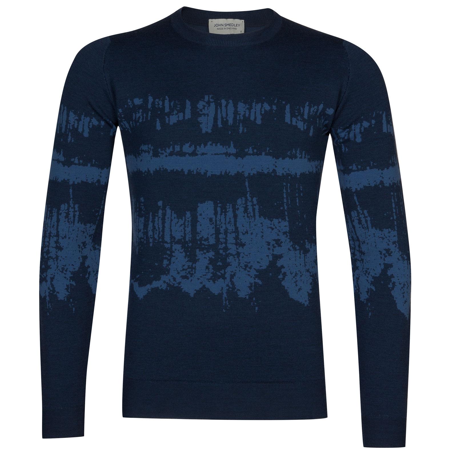 John Smedley girling Merino Wool Pullover in Indigo/Derwent Blue-M
