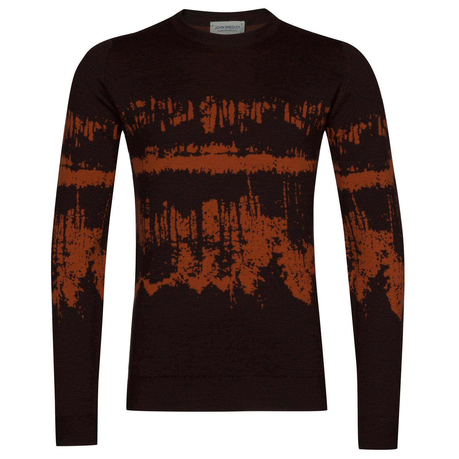 John Smedley girling Merino Wool Pullover in Chestnut/Flare Orange-XL